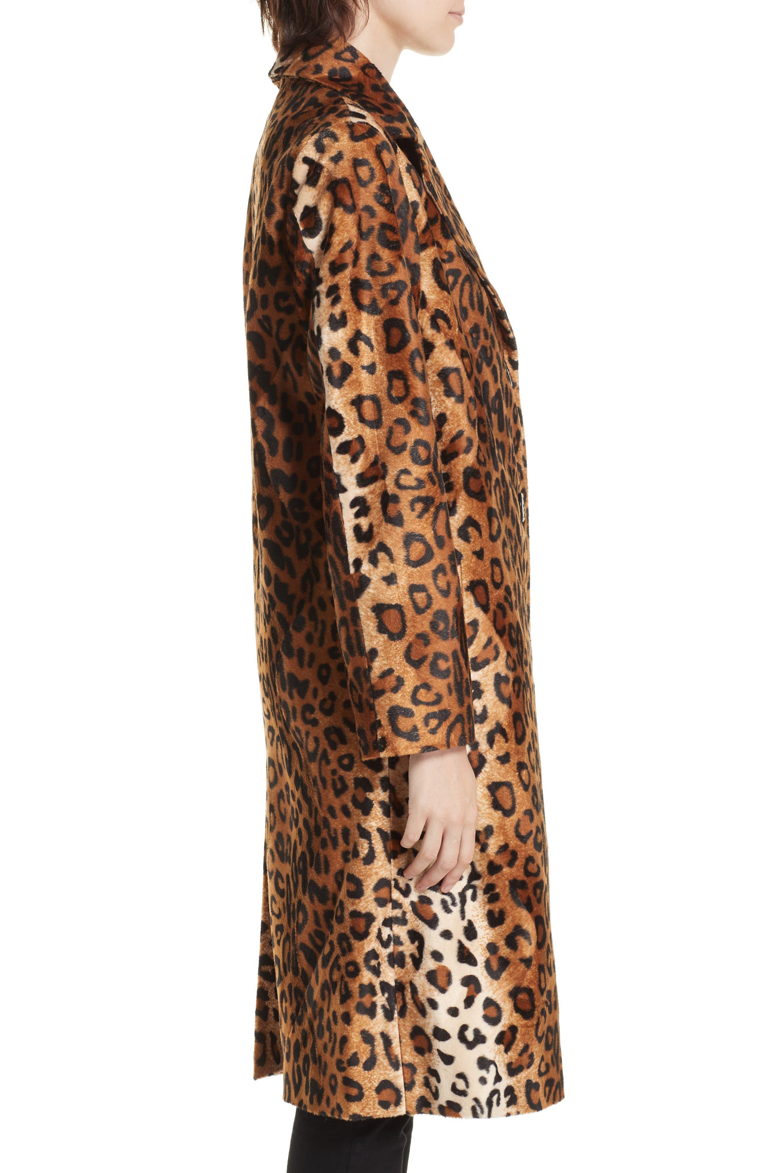 Faux Leopard Fur Coat,                             Alternate thumbnail 3, color,                             BROWN LEOPARD