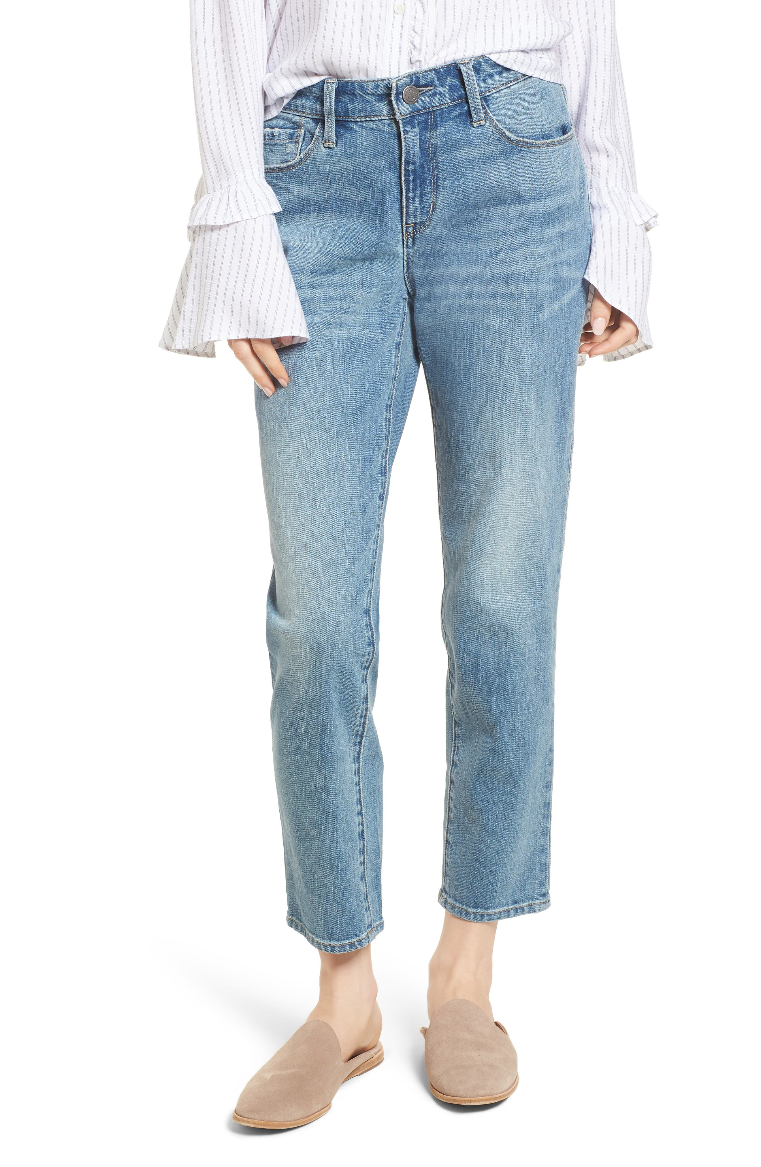 Pansy Embroidered Crop Boyfriend Jeans,                             Main thumbnail 1, color,                             400
