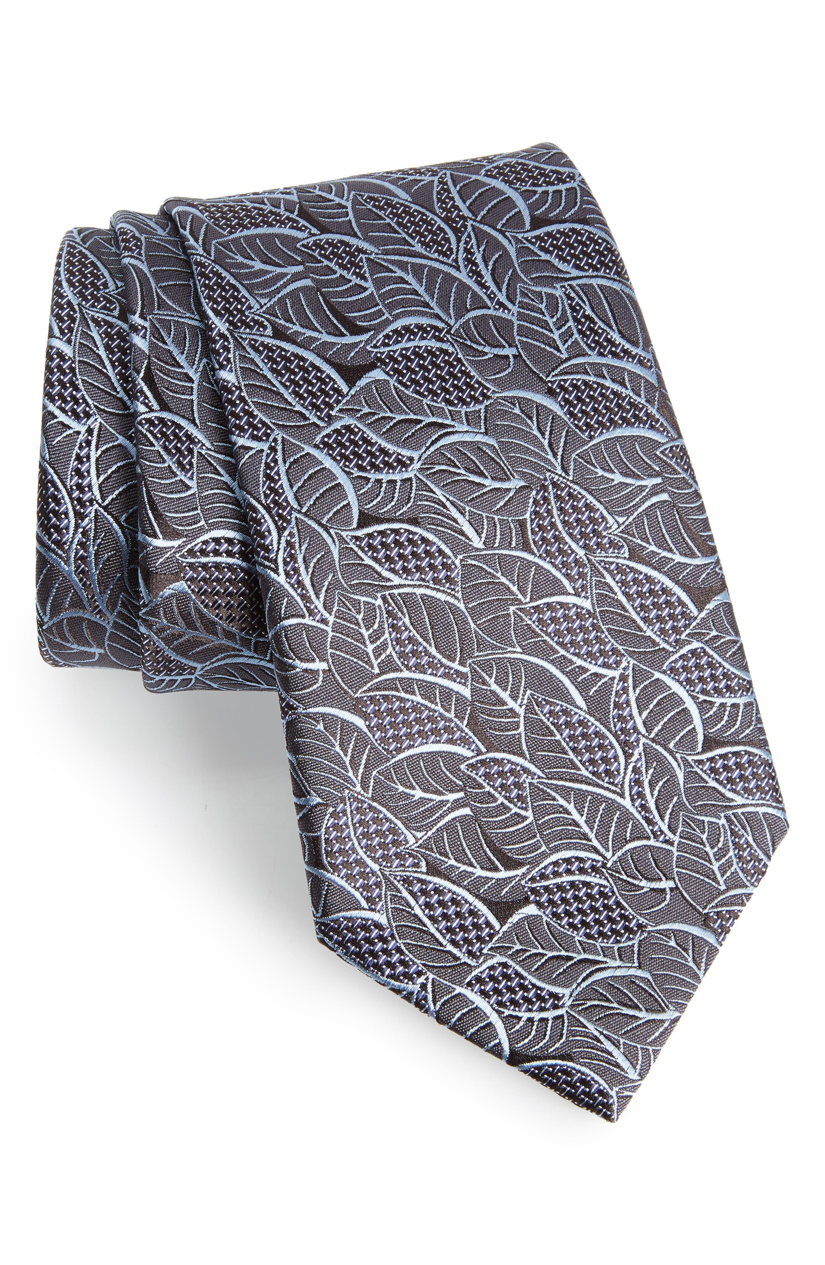 Leaf Silk Tie,                         Main,                         color, SLATE