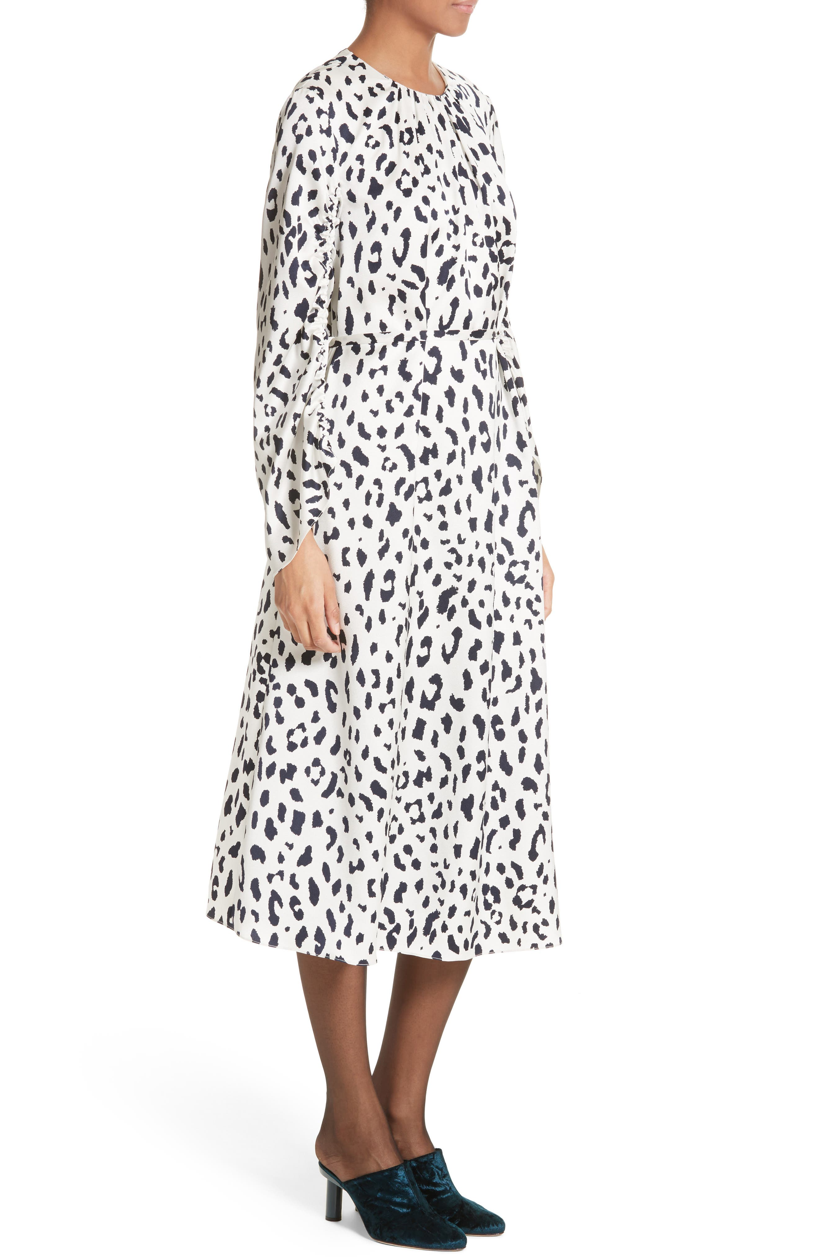 Cheetah Satin Dress,                             Alternate thumbnail 3, color,                             900