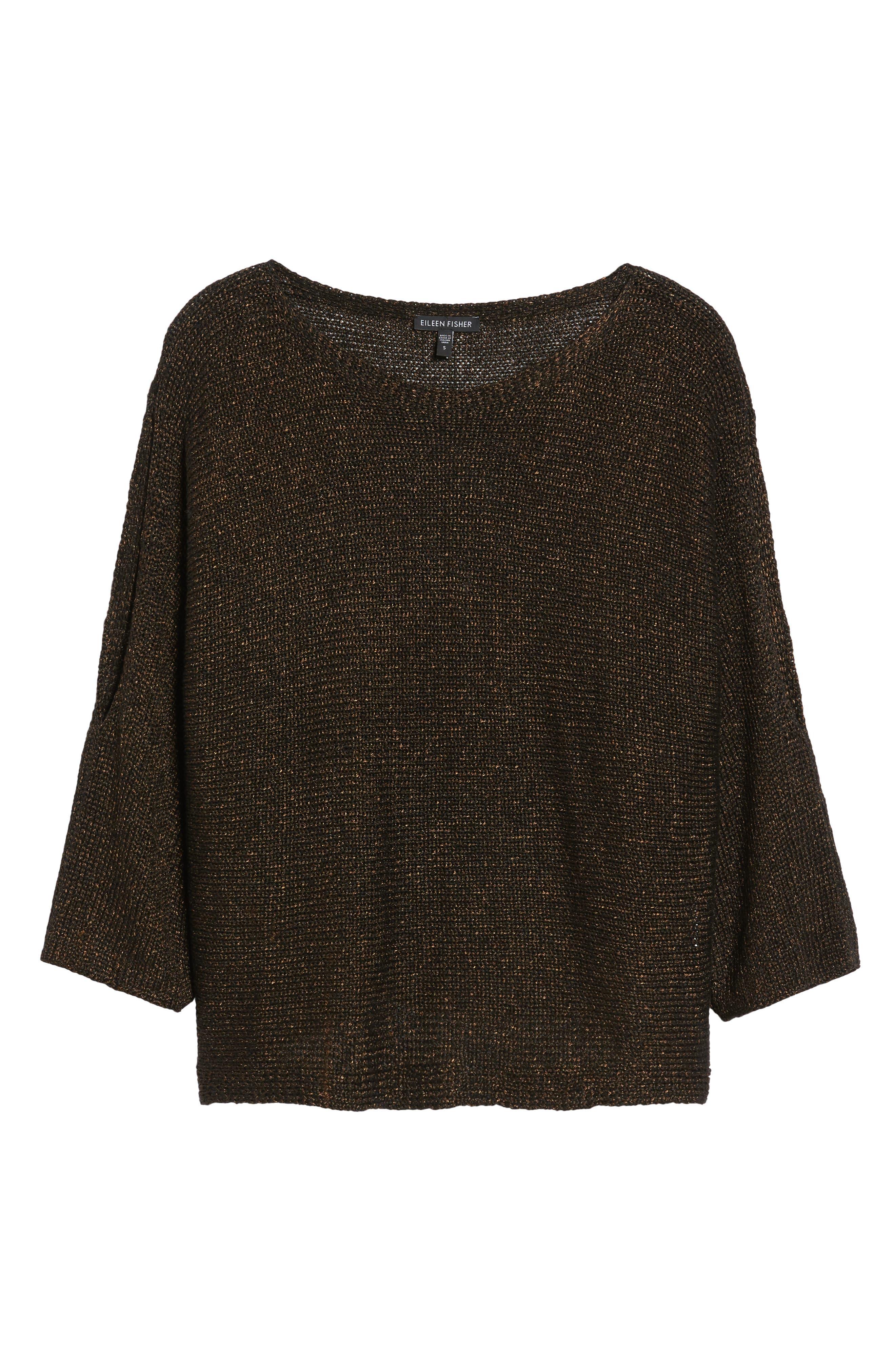 Metallic Organic Linen Blend Sweater,                             Alternate thumbnail 6, color,                             207