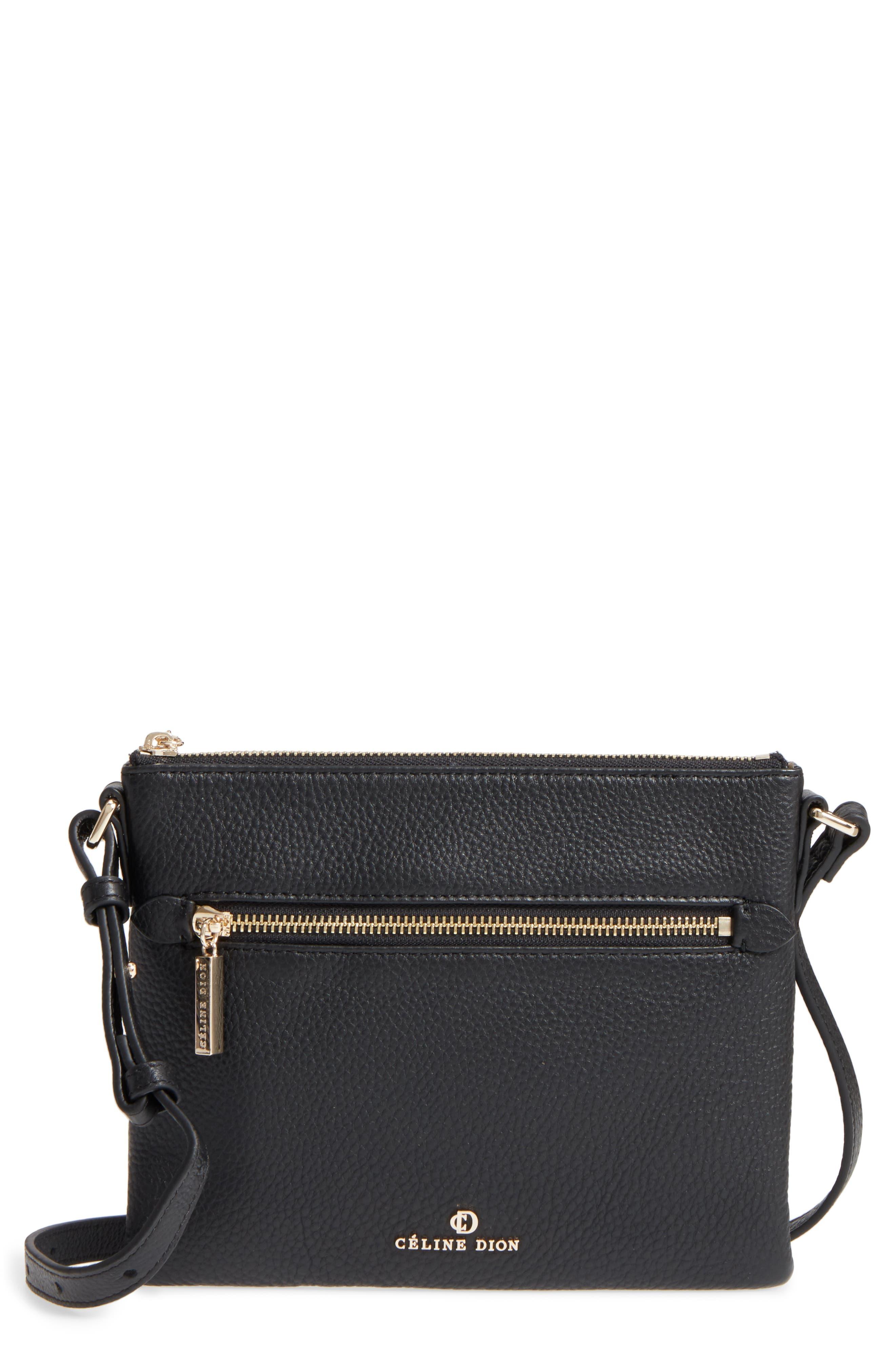 Céline Dion Adagio Leather Crossbody Bag,                             Main thumbnail 1, color,                             001