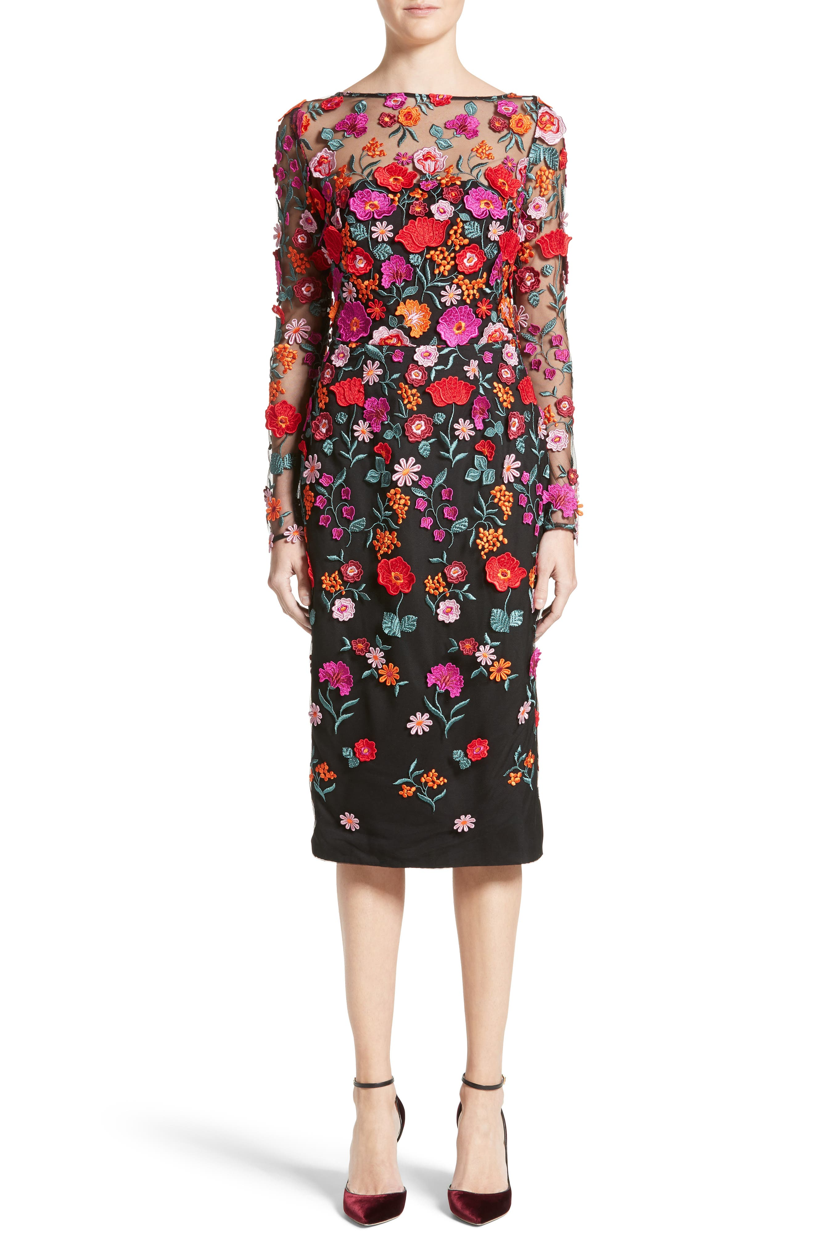 Floral Embroidered Pencil Dress,                             Main thumbnail 1, color,                             001