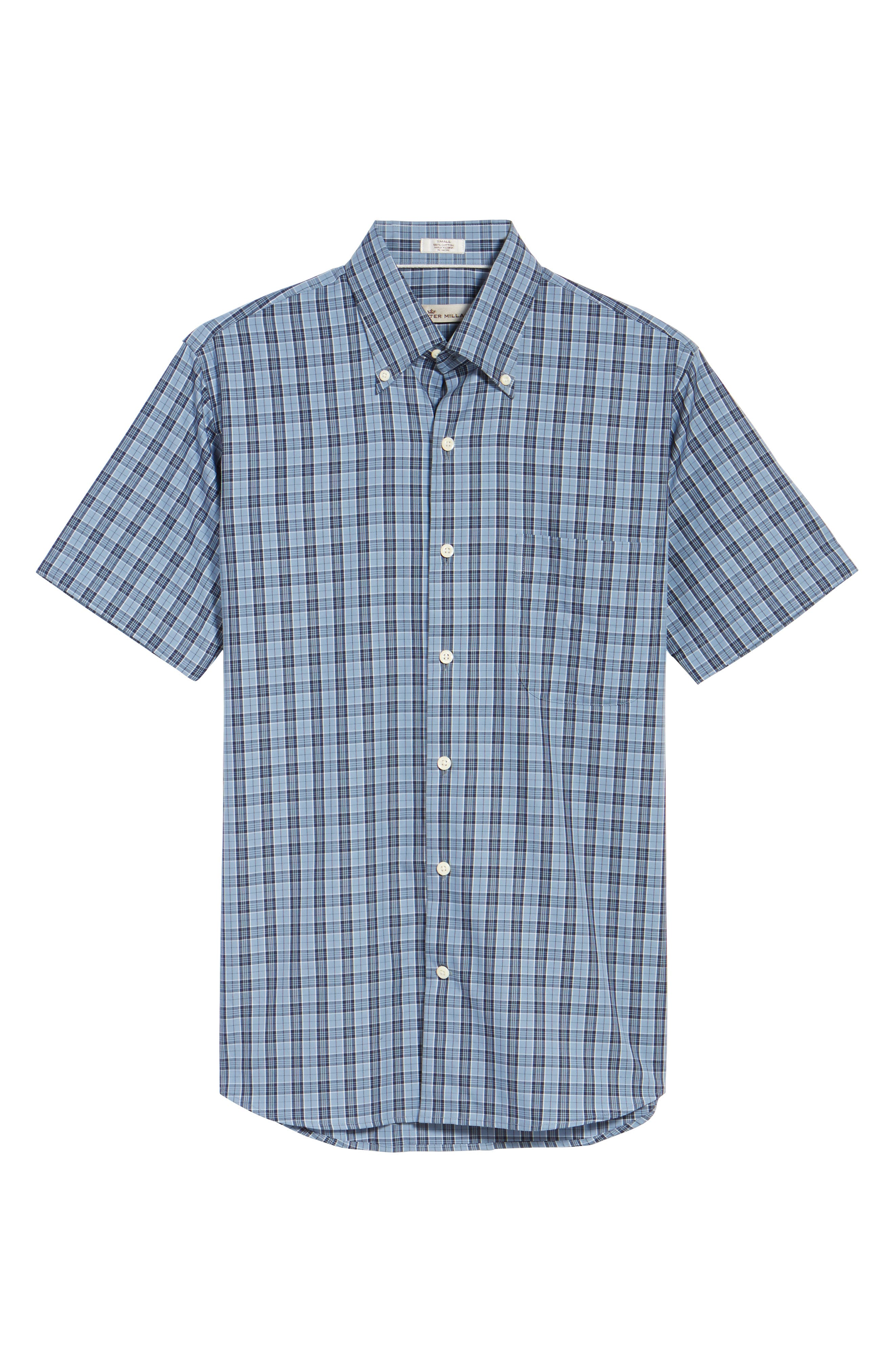 Regular Fit Short Sleeve Stormy Plaid Sport Shirt,                             Alternate thumbnail 6, color,                             439