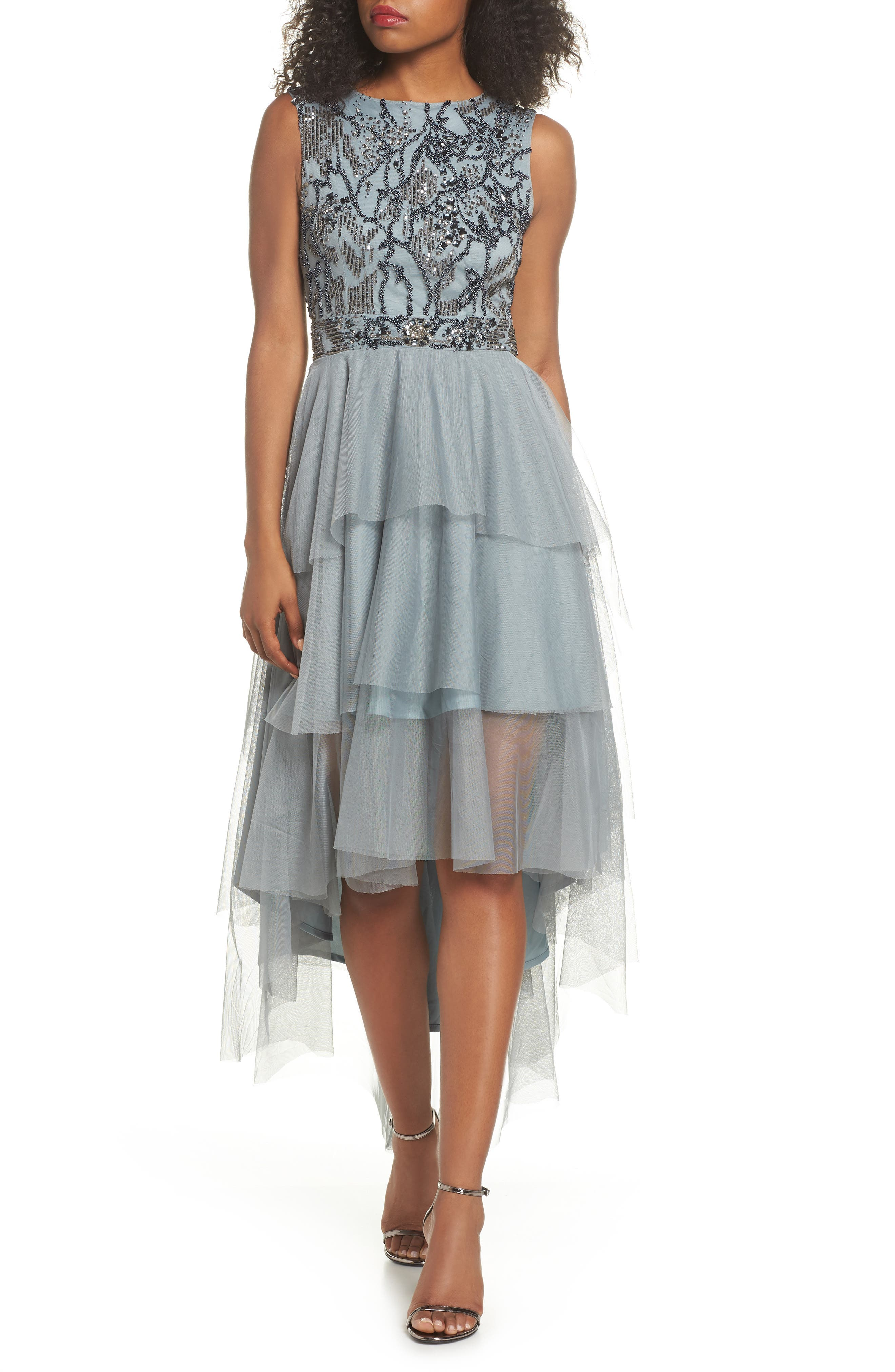 Bridget Embellished Tiered Tulle Dress,                             Main thumbnail 1, color,                             GREY