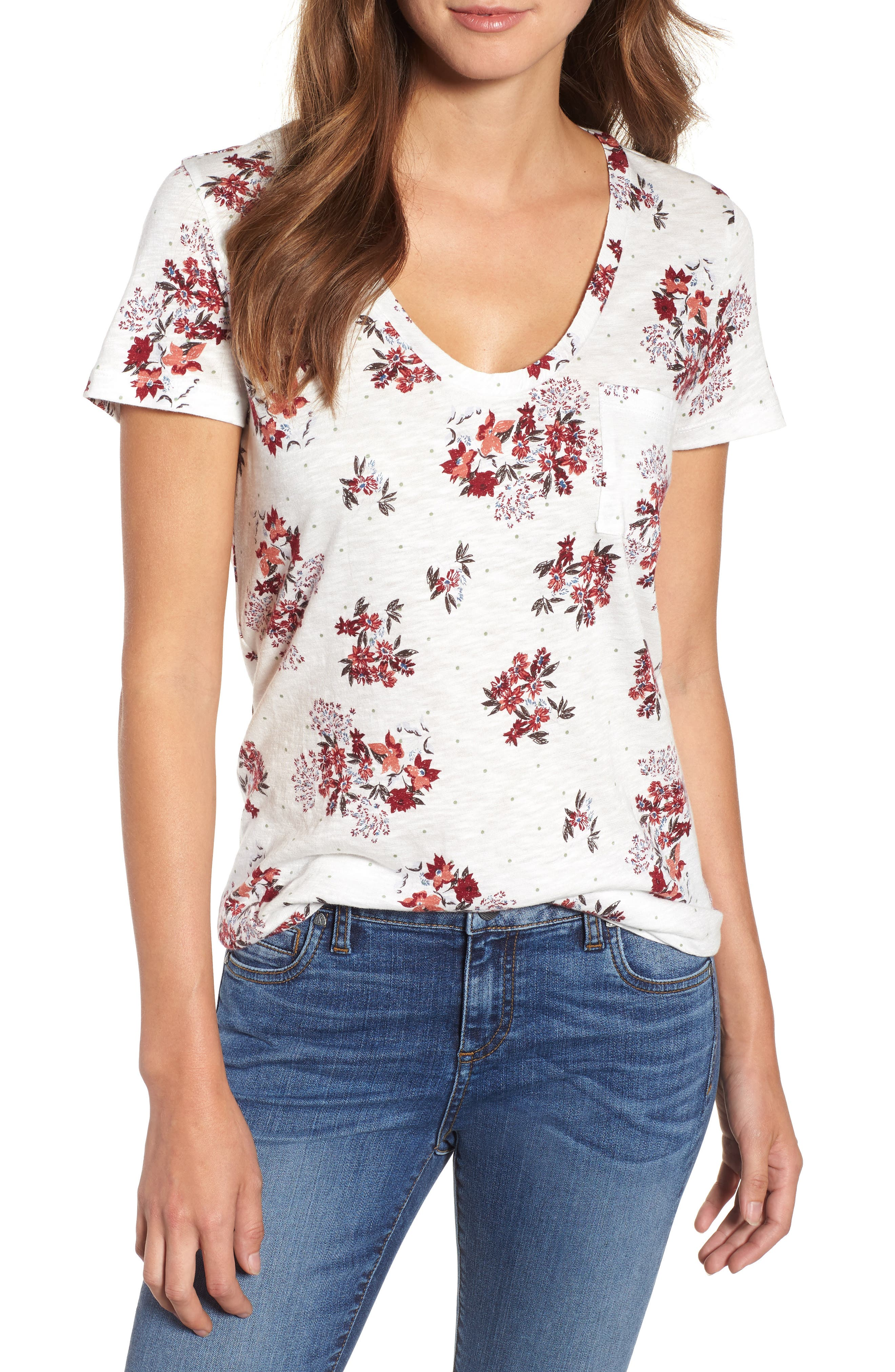 Rounded V-Neck Tee,                             Main thumbnail 1, color,                             IVORY SKETCHED FLORAL