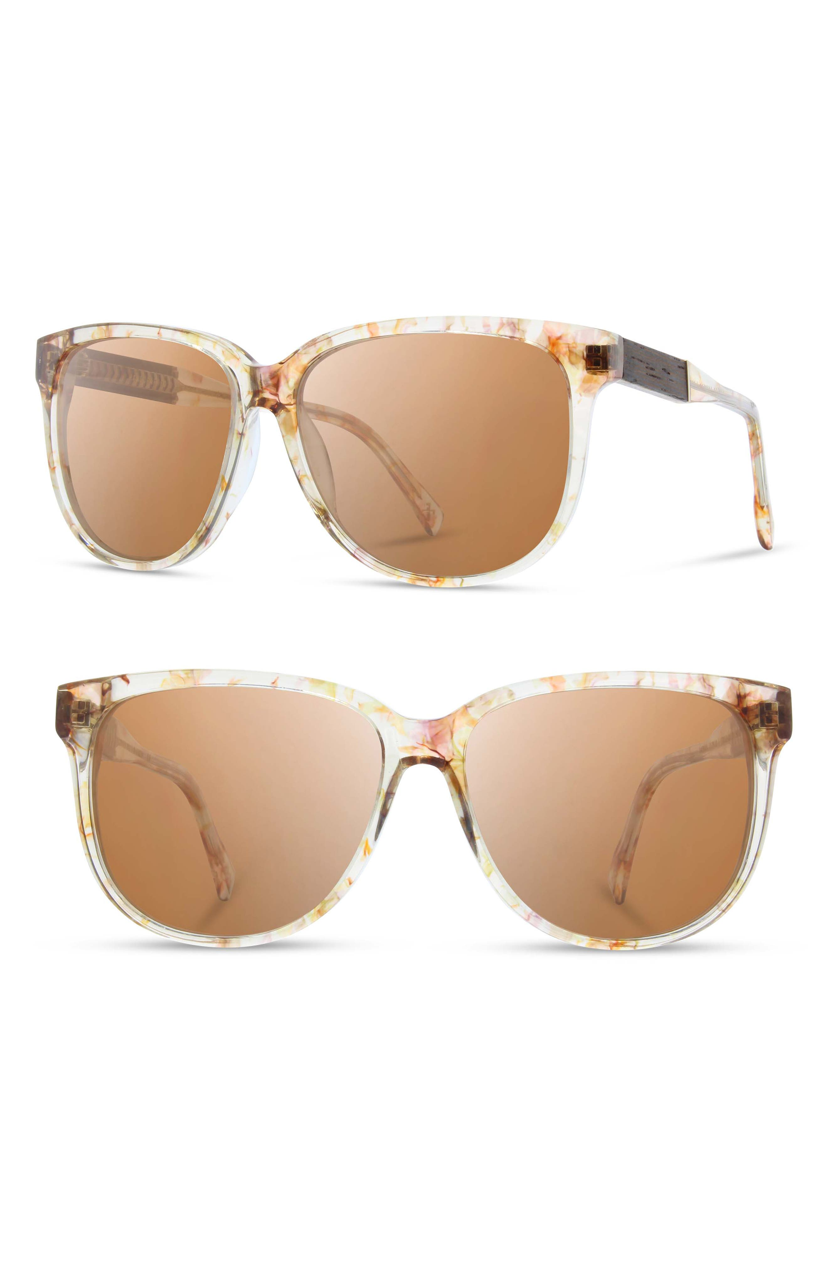 'McKenzie' 57mm Polarized Sunglasses,                         Main,                         color, BLOSSOM/ EBONY/ BROWN