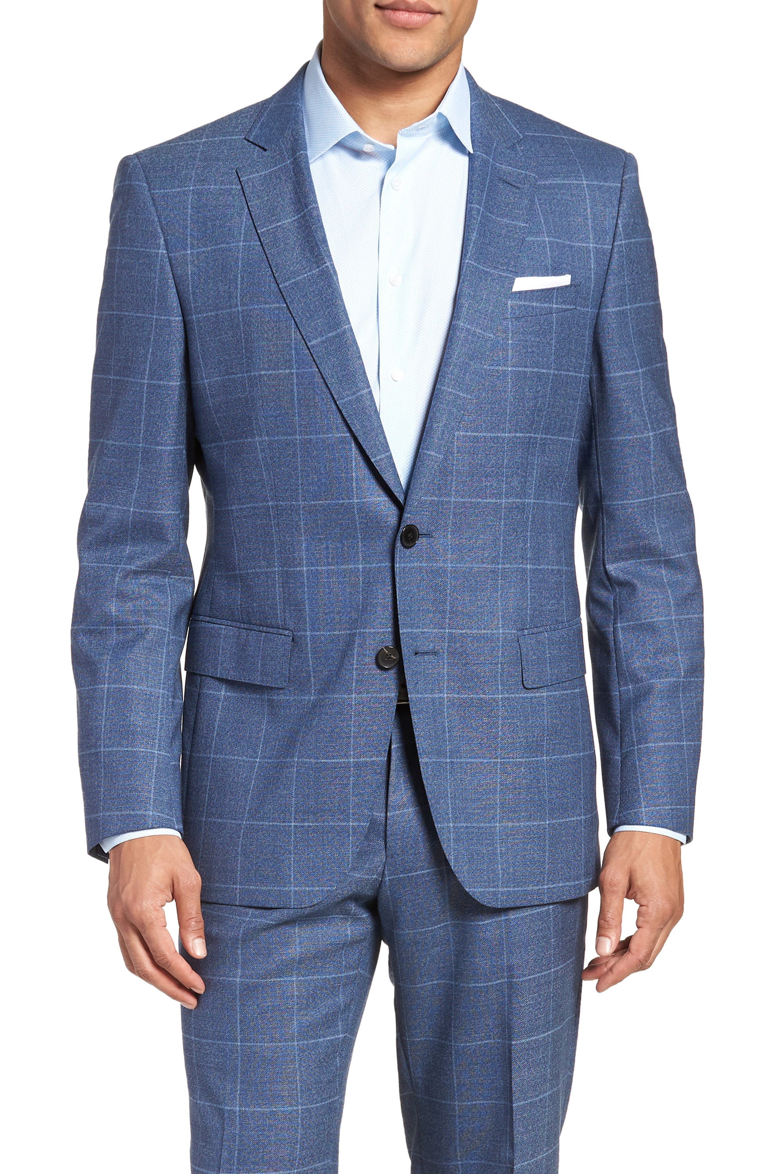 Huge/Genius Trim Fit Windowpane Wool Suit,                             Alternate thumbnail 5, color,                             400