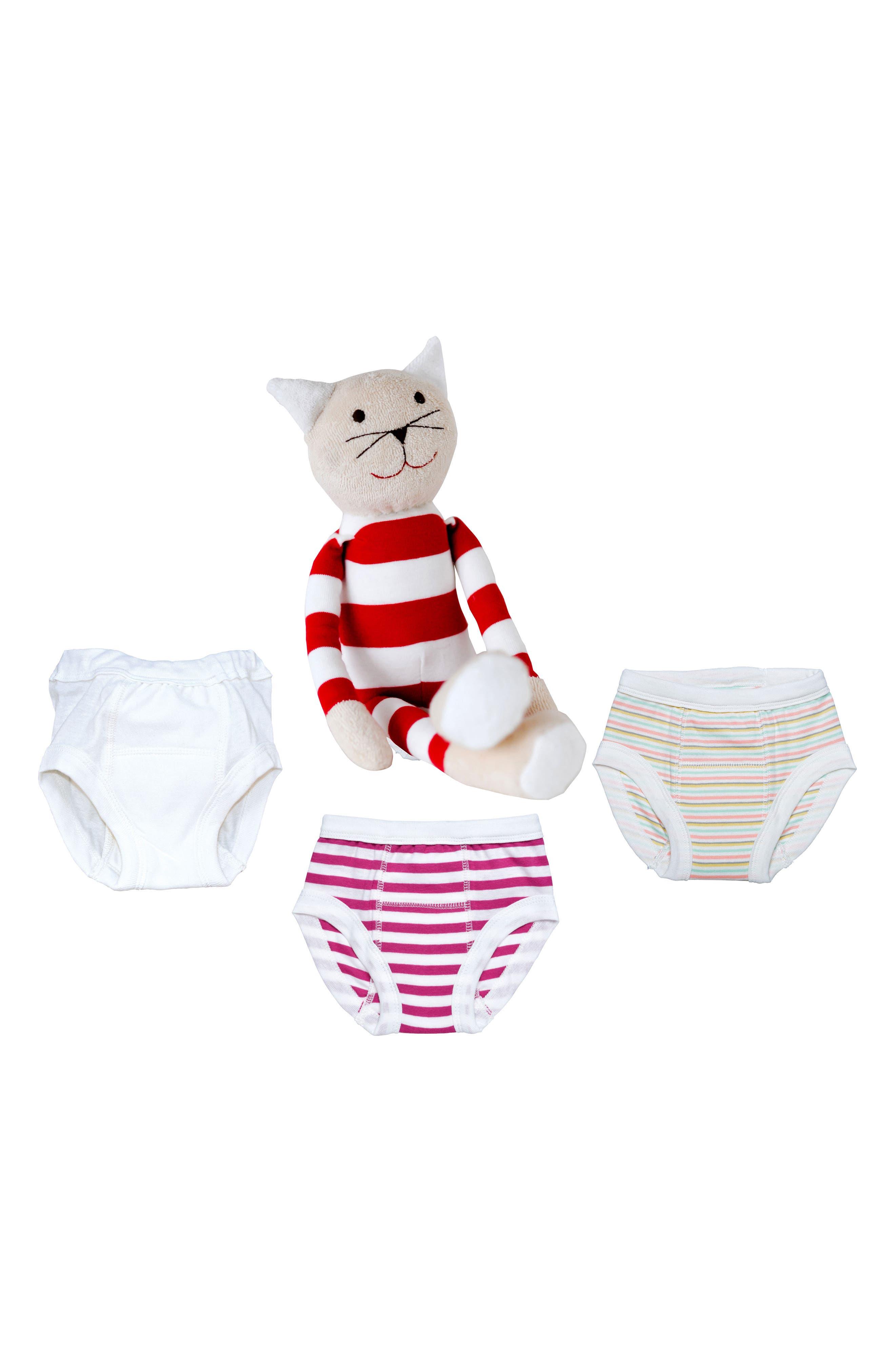4-Piece Training Pants & Tilly Stuffed Animal Set,                             Alternate thumbnail 2, color,                             PINK