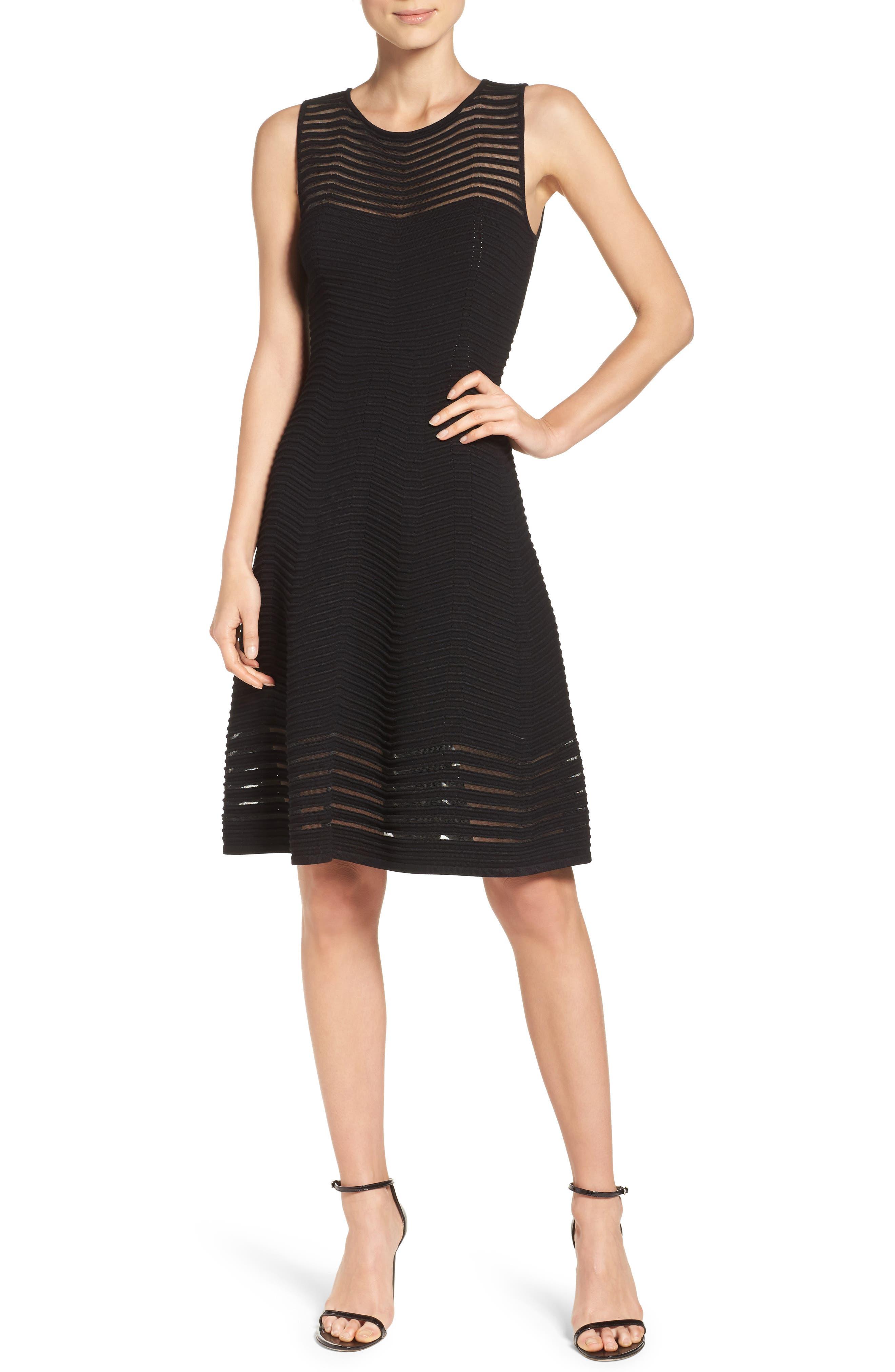Chevron Fit & Flare Dress,                             Alternate thumbnail 5, color,                             001