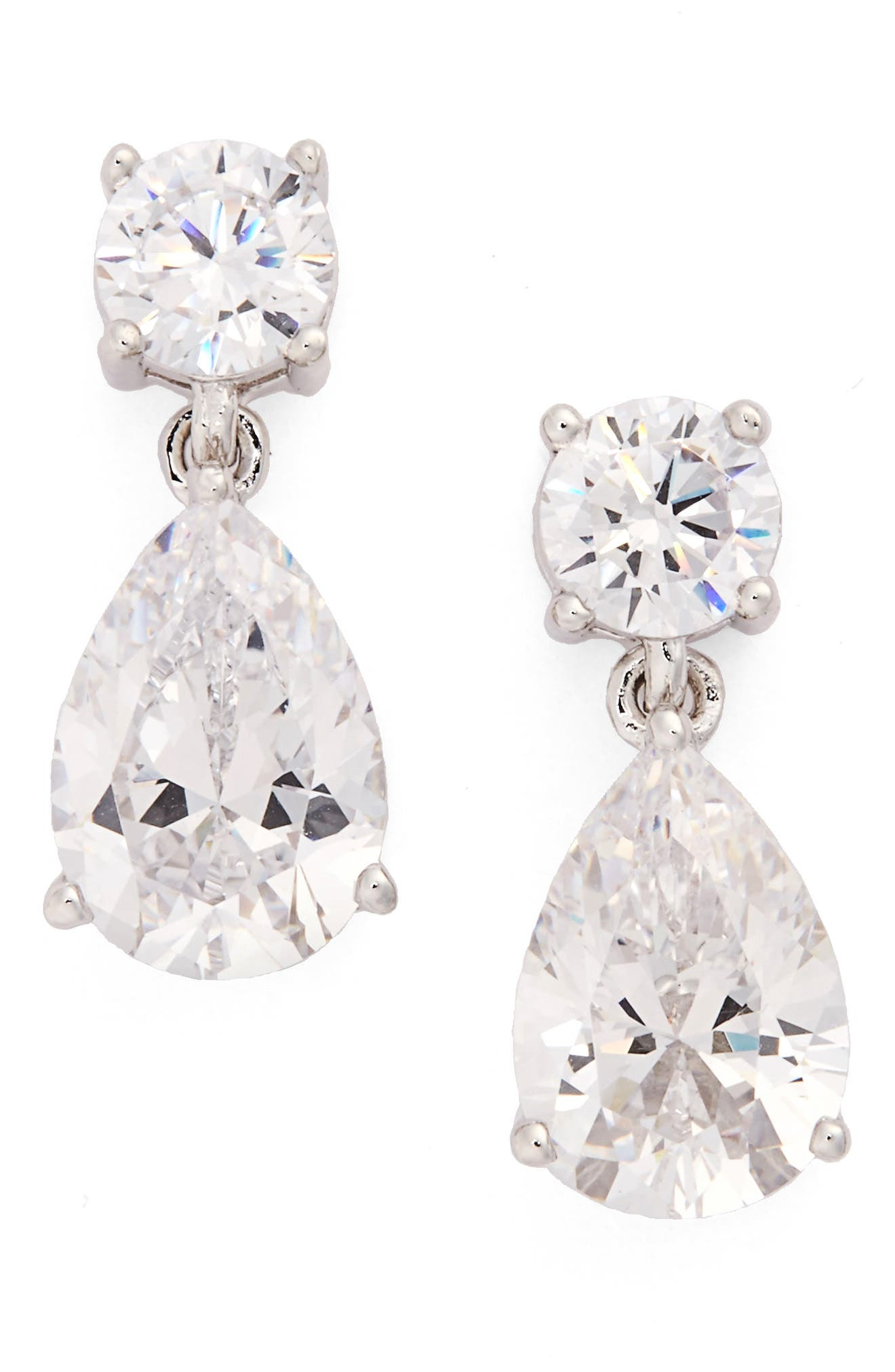 Cubic Zirconia Teardrop Earrings,                             Alternate thumbnail 2, color,                             SILVER/ CLEAR CZ