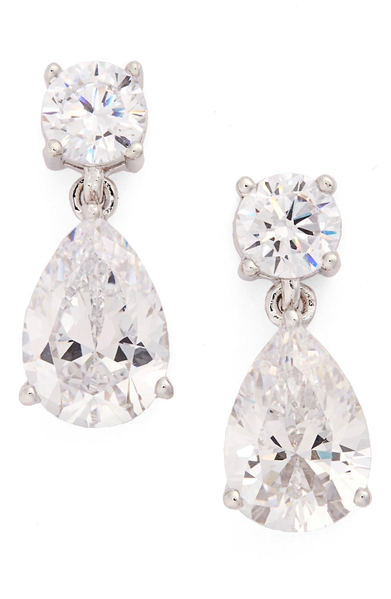 Cubic Zirconia Teardrop Earrings,                         Main,                         color, SILVER/ CLEAR CZ