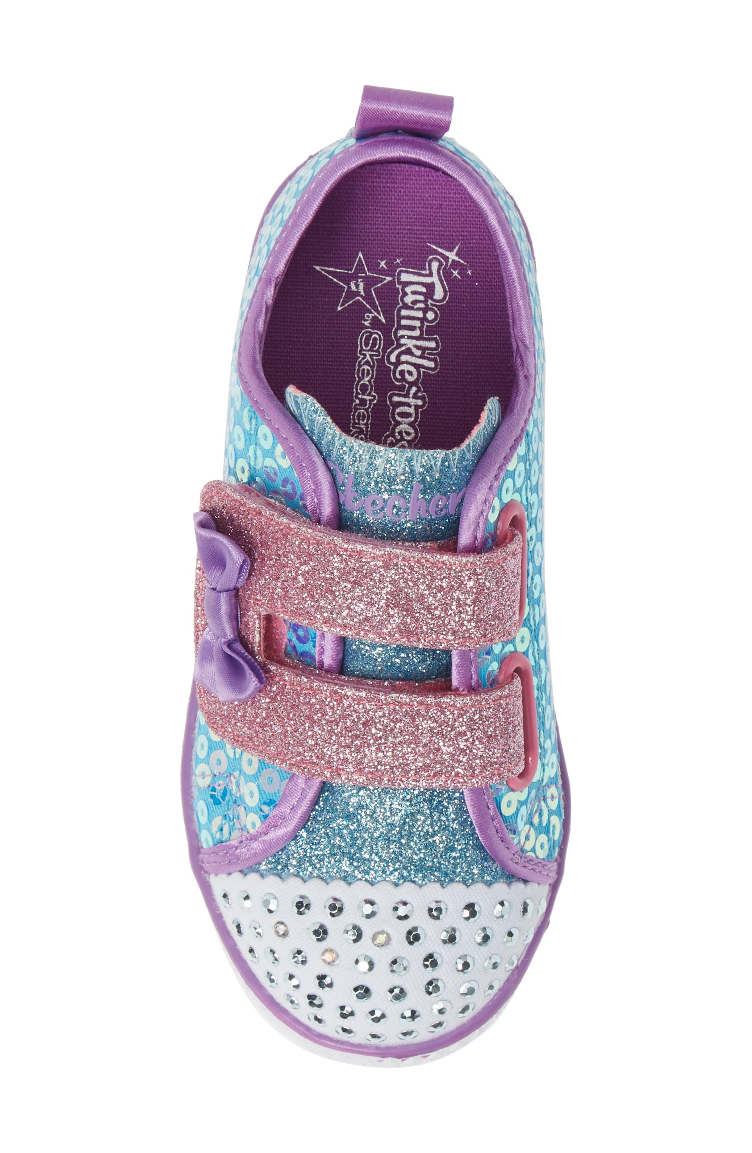 Shuffle Lite Glitter Sneaker,                             Alternate thumbnail 5, color,                             TURQUOISE/MULTI