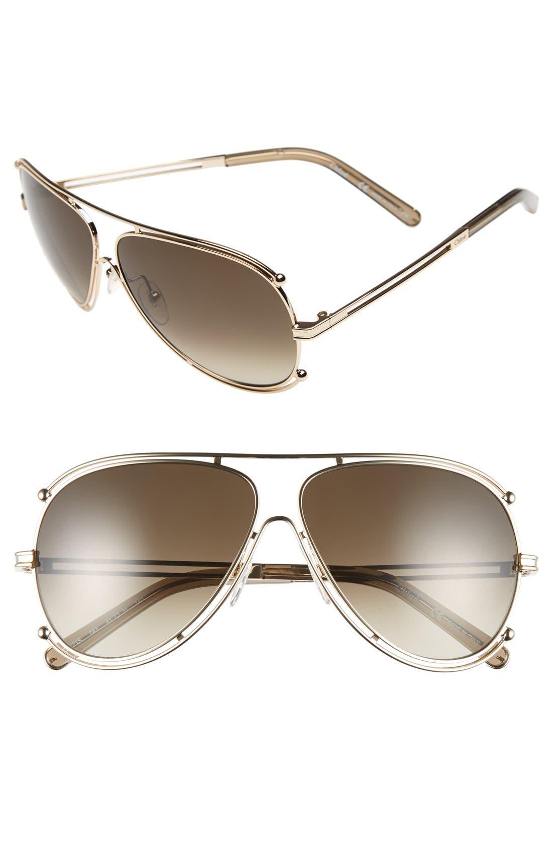 CHLOÉ,                             'Isidora' 61mm Aviator Sunglasses,                             Main thumbnail 1, color,                             710