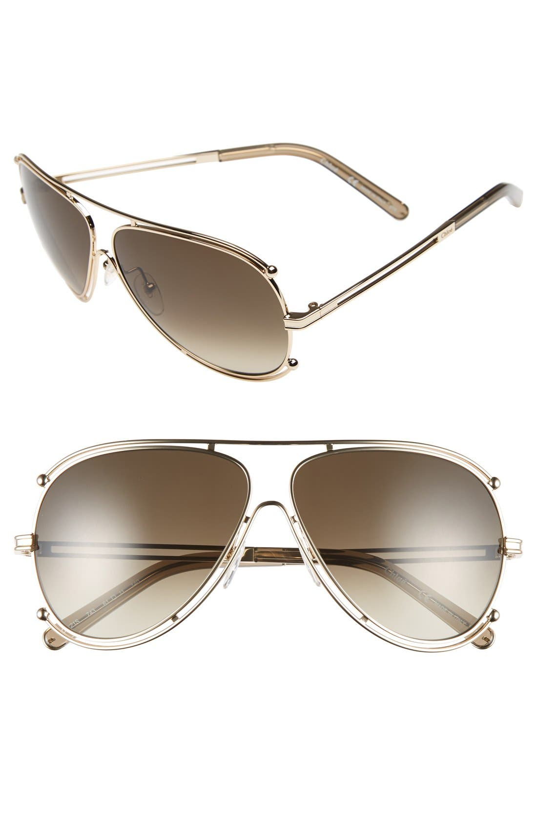 CHLOÉ 'Isidora' 61mm Aviator Sunglasses, Main, color, 710