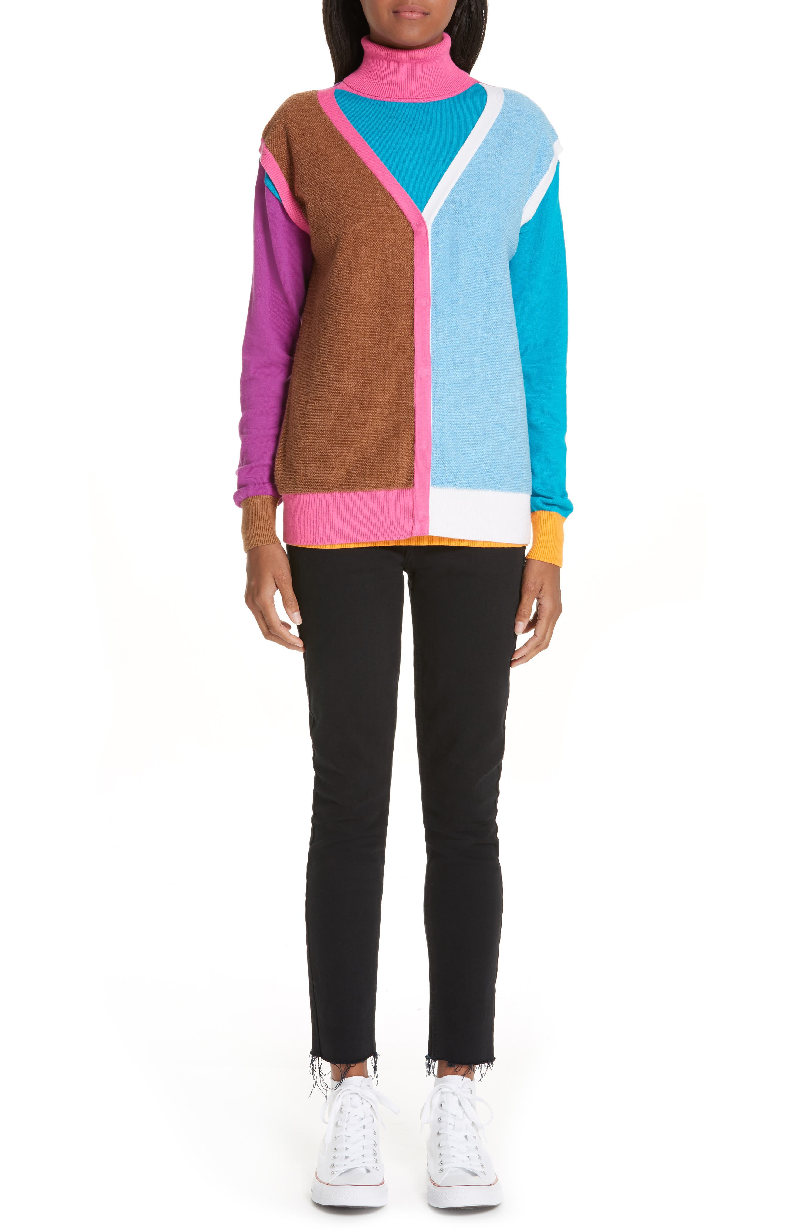 Layered Cotton & Cashmere Sweater,                             Alternate thumbnail 7, color,                             PINK/BLUE/SAND COMBO