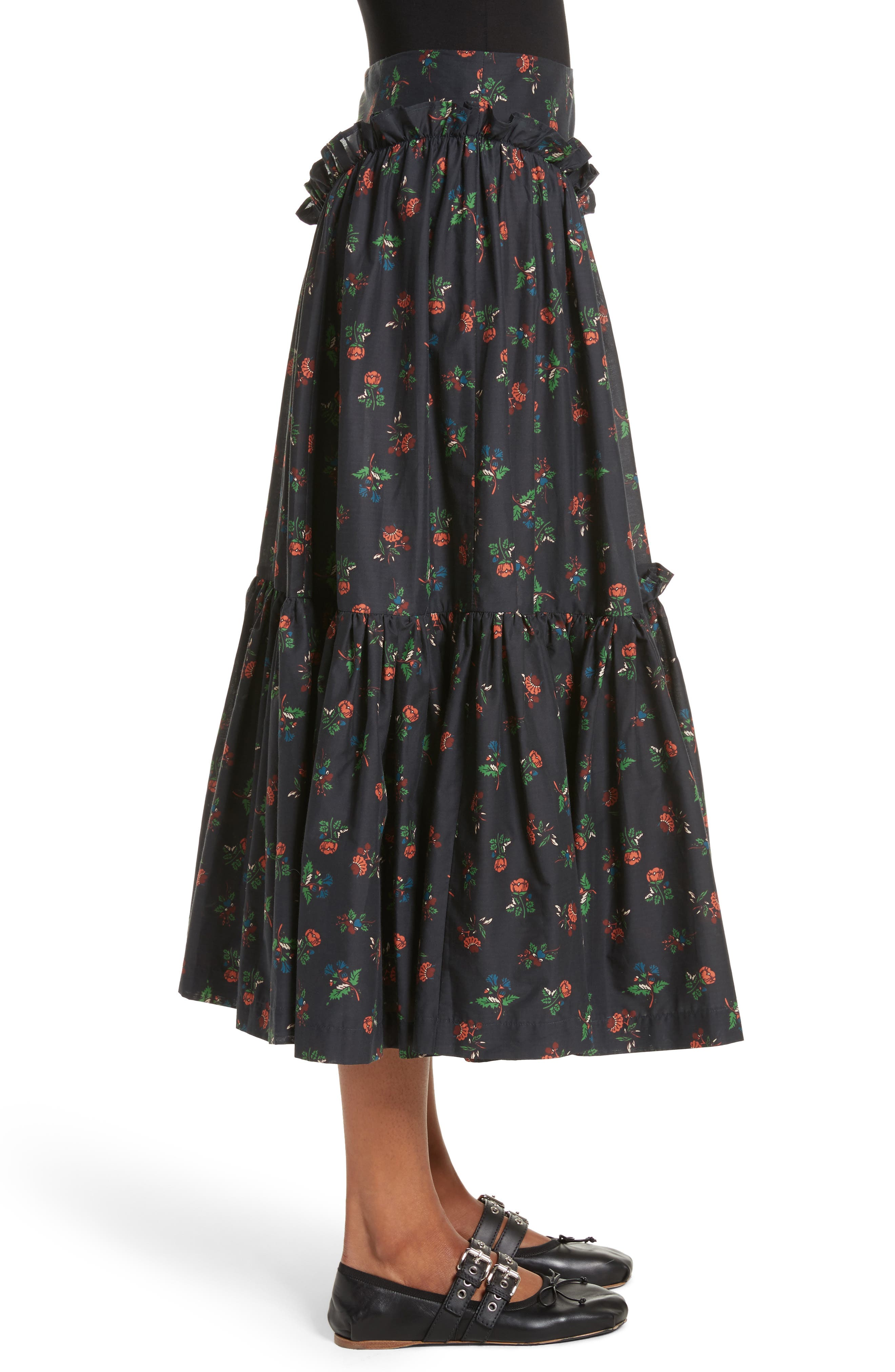 Tracey Floral Skirt,                             Alternate thumbnail 3, color,                             001
