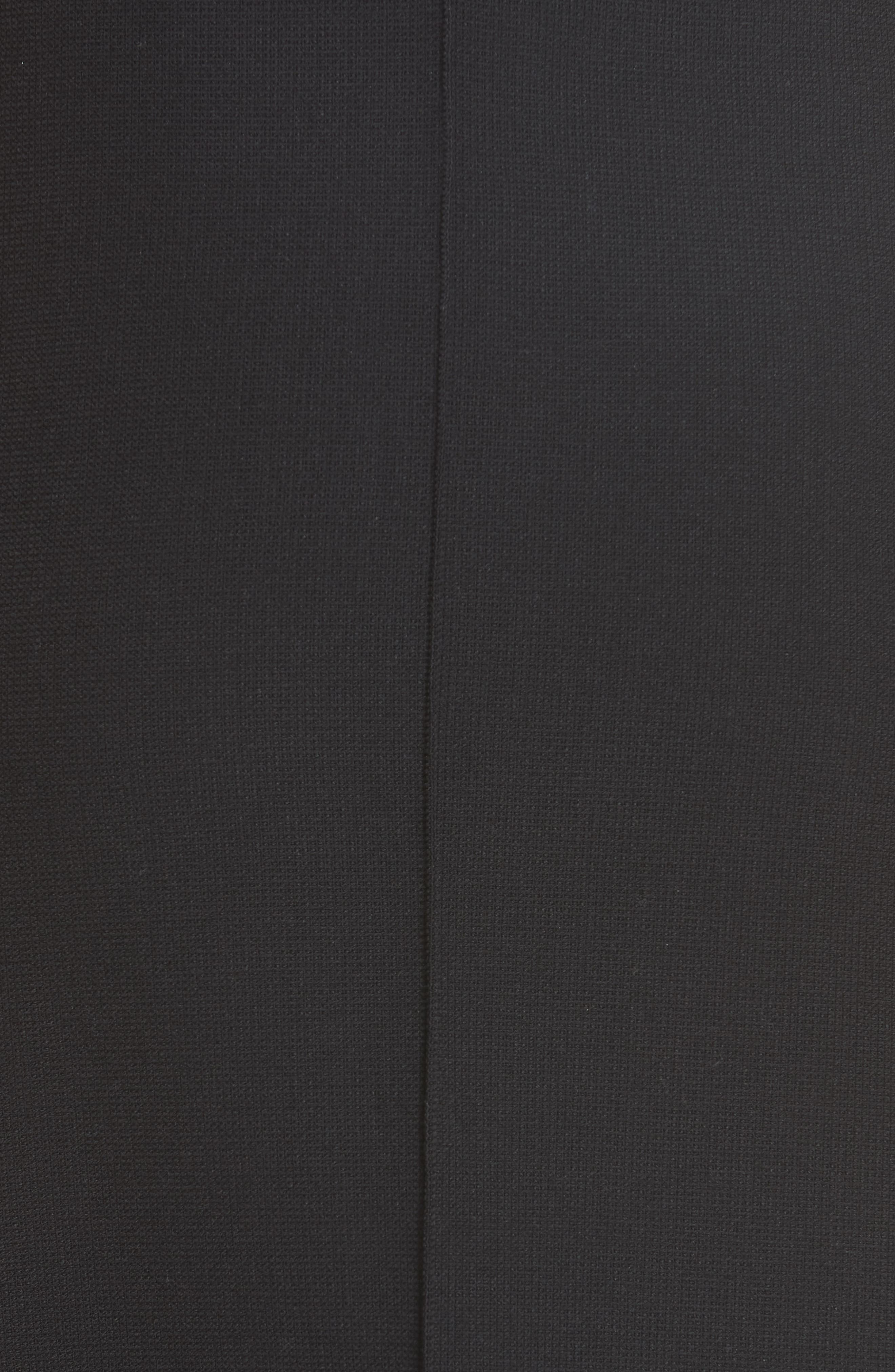 Fit & Flare Midi Skirt,                             Alternate thumbnail 5, color,                             BLACK PIQUE