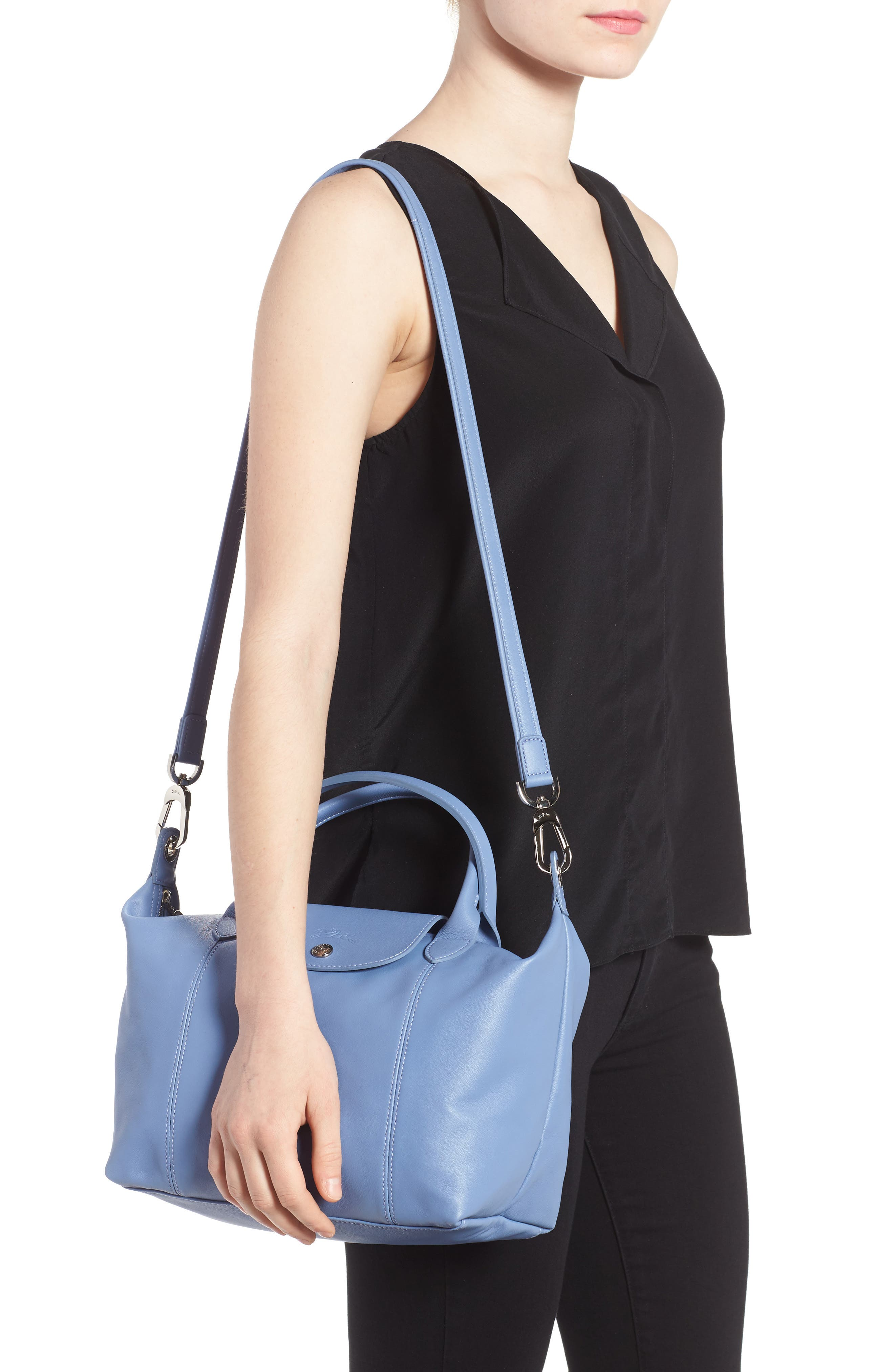 Small 'Le Pliage Cuir' Leather Top Handle Tote,                             Alternate thumbnail 38, color,