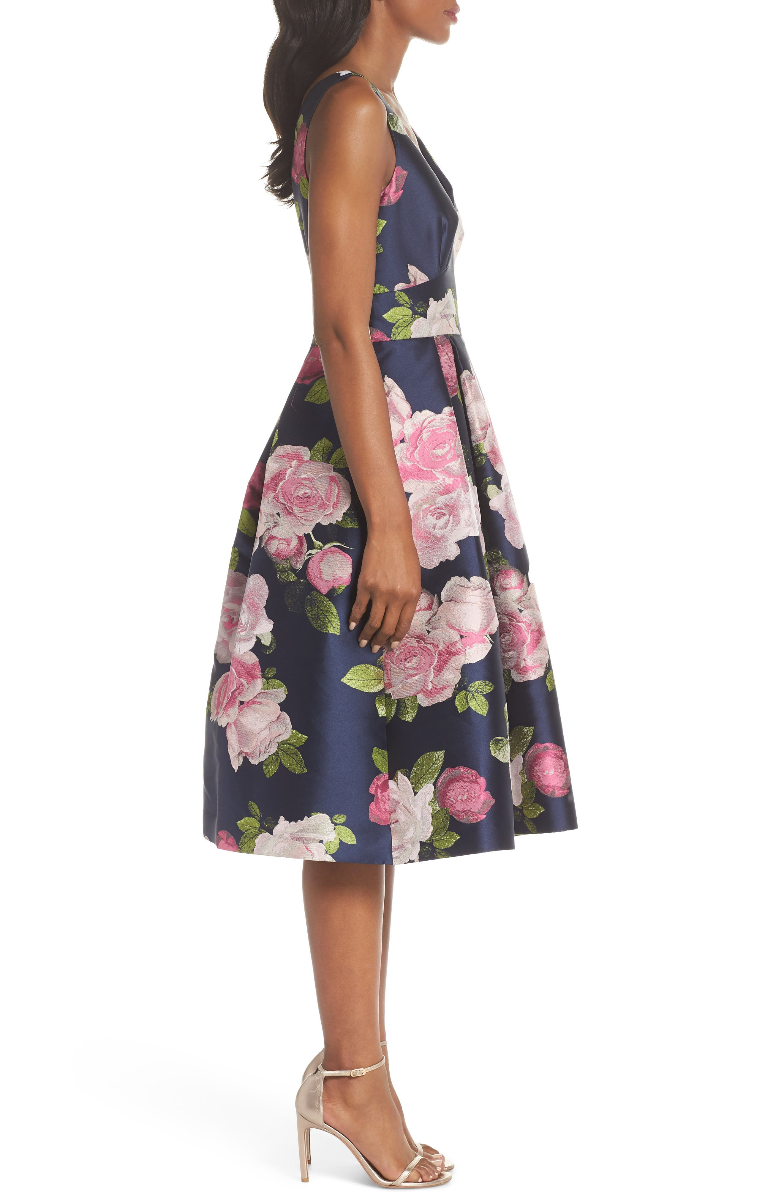 Sleeveless Floral Print Fit & Flare Dress,                             Alternate thumbnail 3, color,                             NAVY