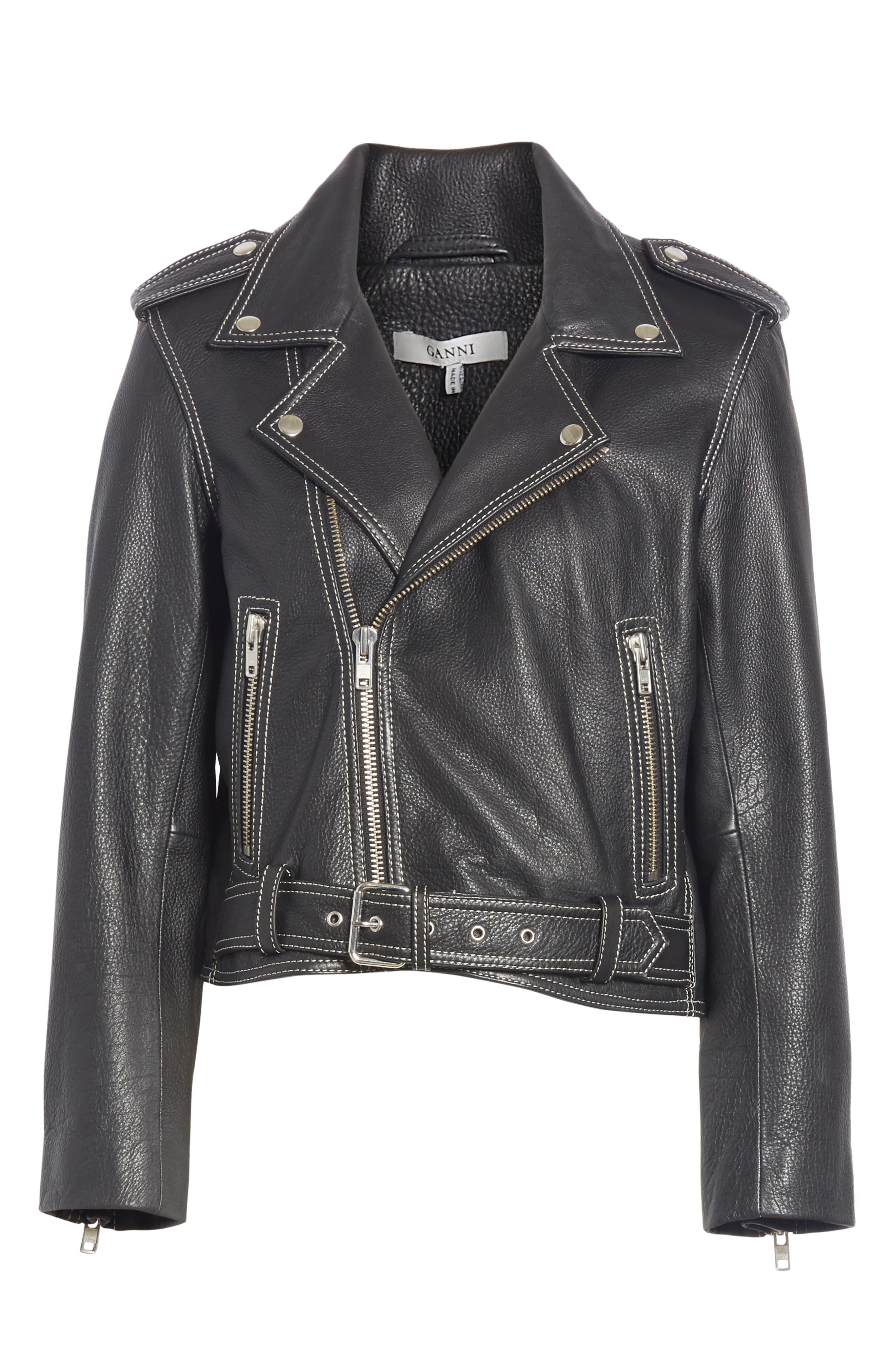 GANNI,                             Angela Leather Jacket,                             Alternate thumbnail 5, color,                             099