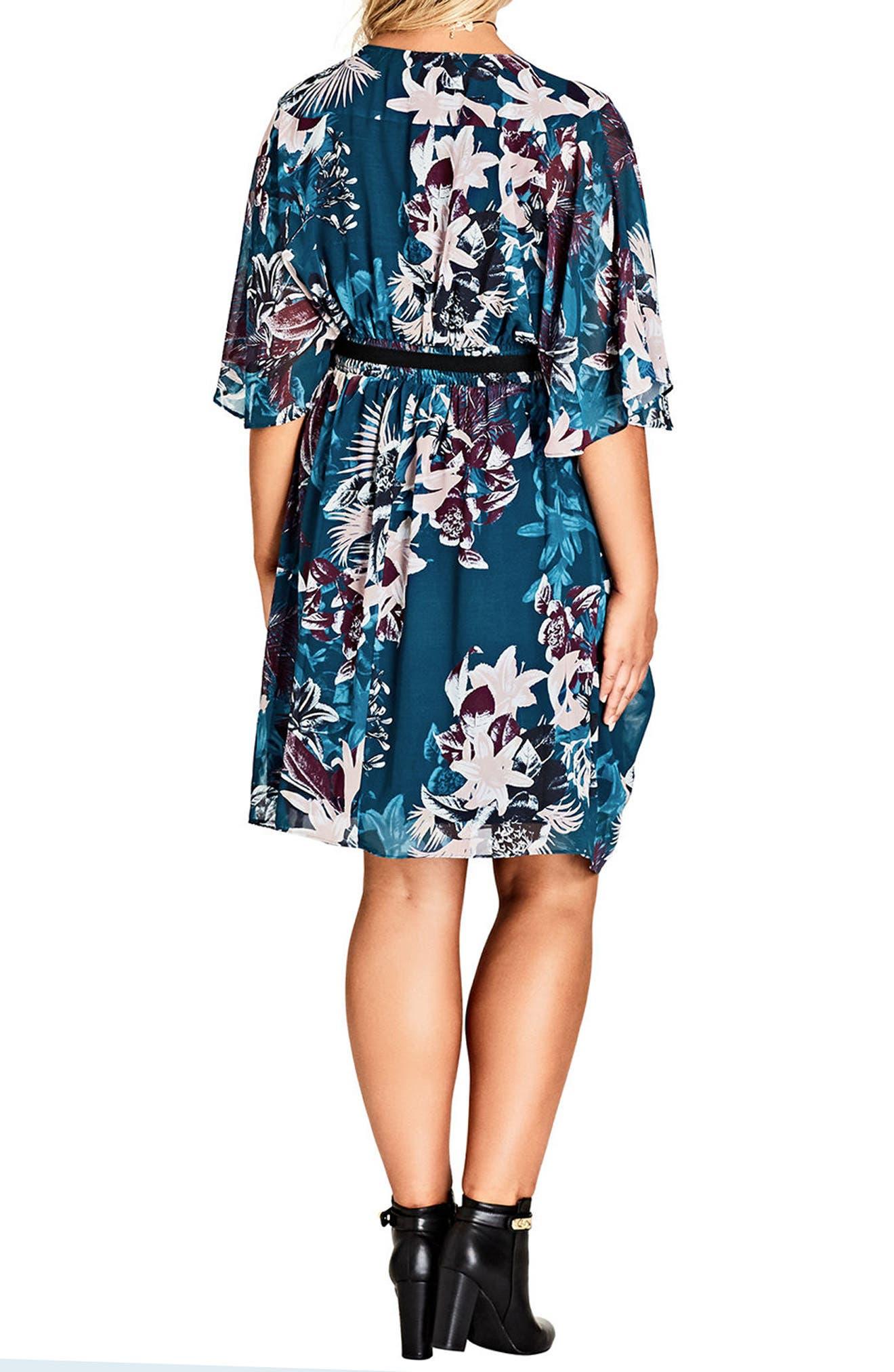 Envelop Me Chiffon Dress,                             Alternate thumbnail 2, color,                             JUNGLE FLORAL