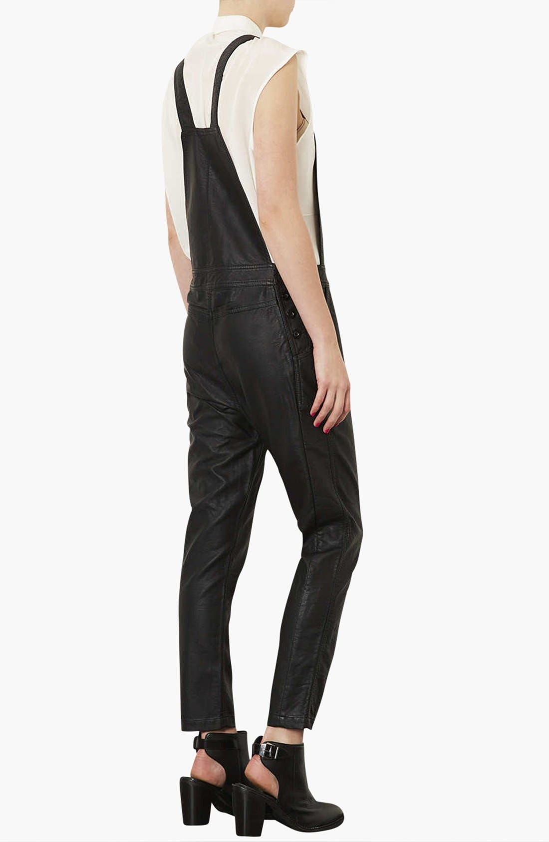Faux Leather Overalls,                             Alternate thumbnail 3, color,                             001