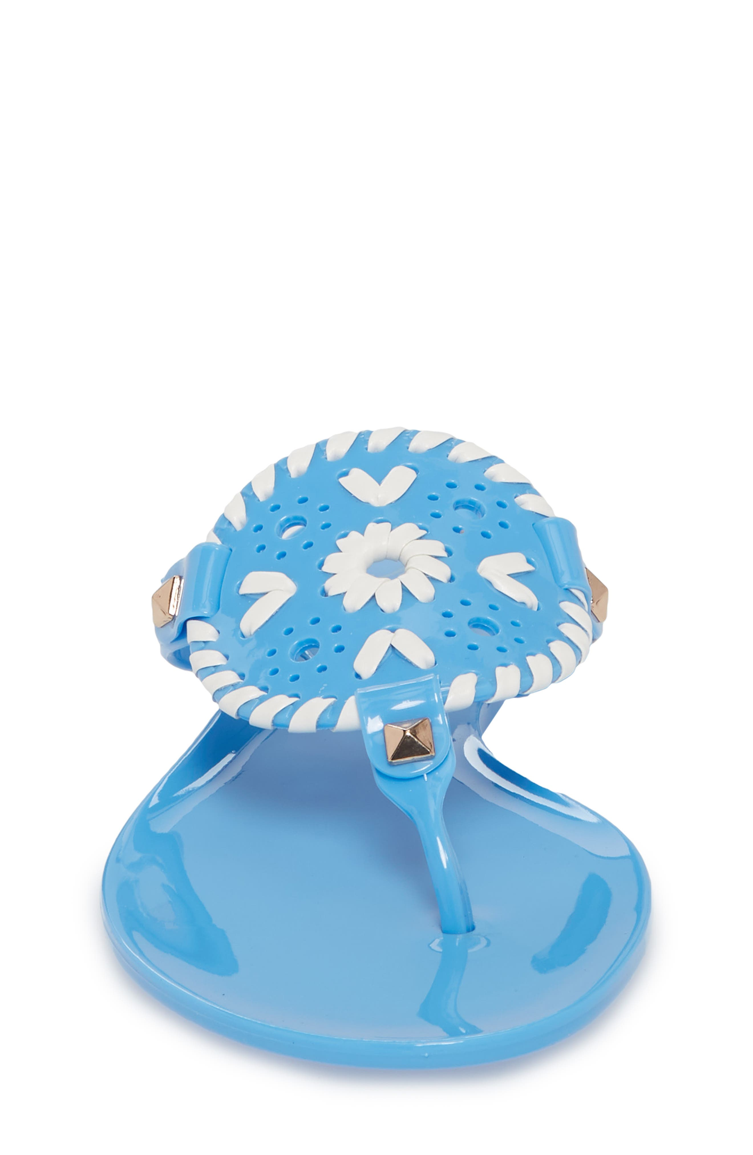 'Miss Georgica' Jelly Flip Flop,                             Alternate thumbnail 4, color,                             FRENCH BLUE/ WHITE JELLY