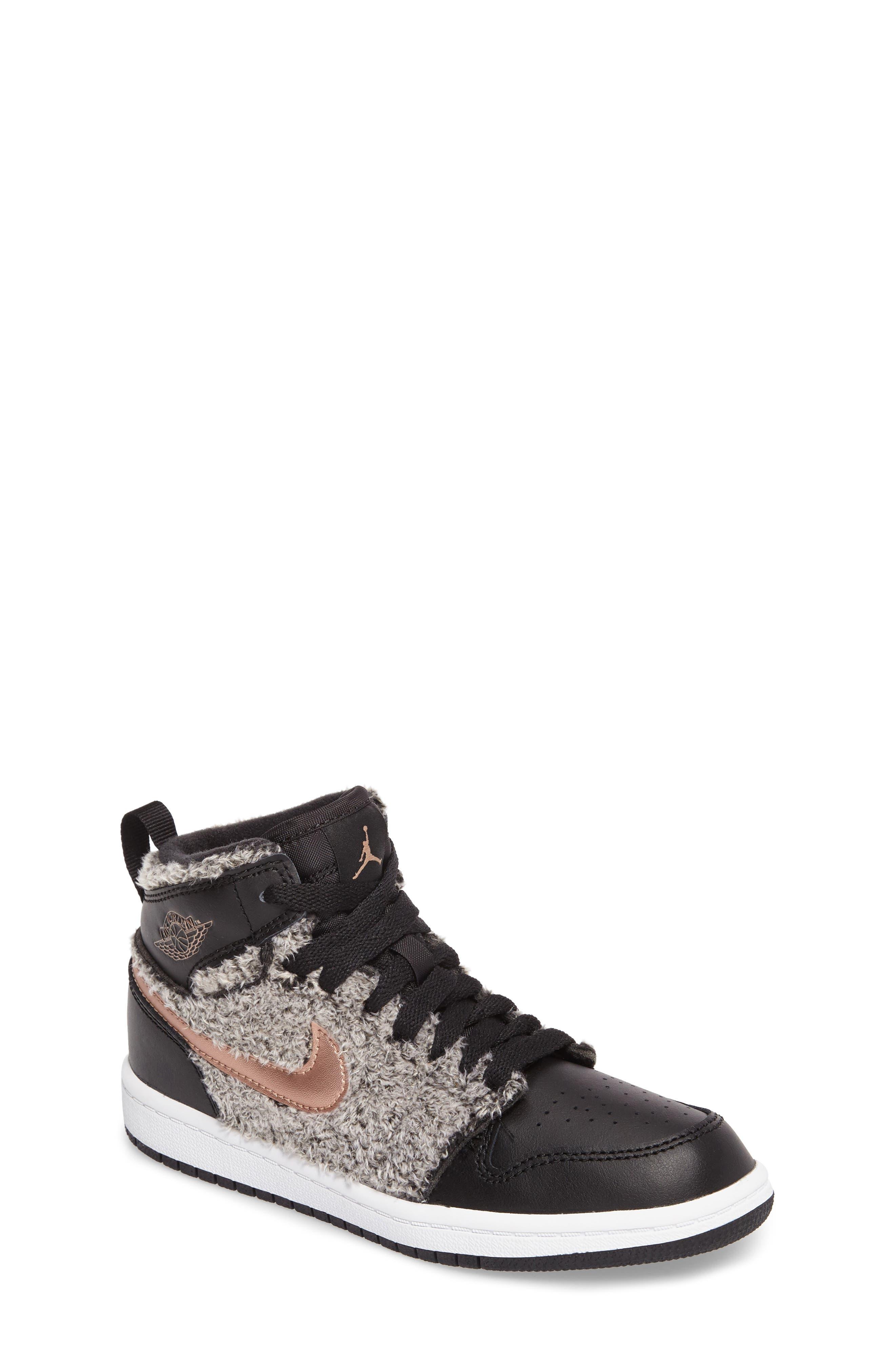 Nike Air Jordan 1 Retro Faux Fur High Top Sneaker,                         Main,                         color, 001