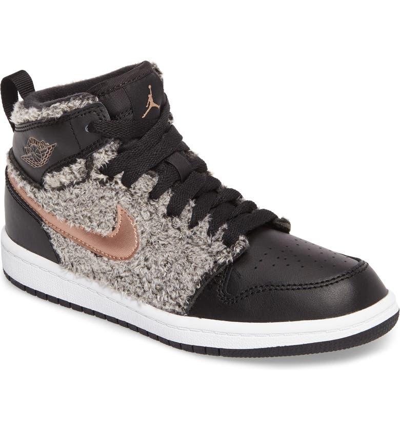 Nike Air Jordan 1 Retro Faux Fur High Top Sneaker (Toddler 8b079ab2d271