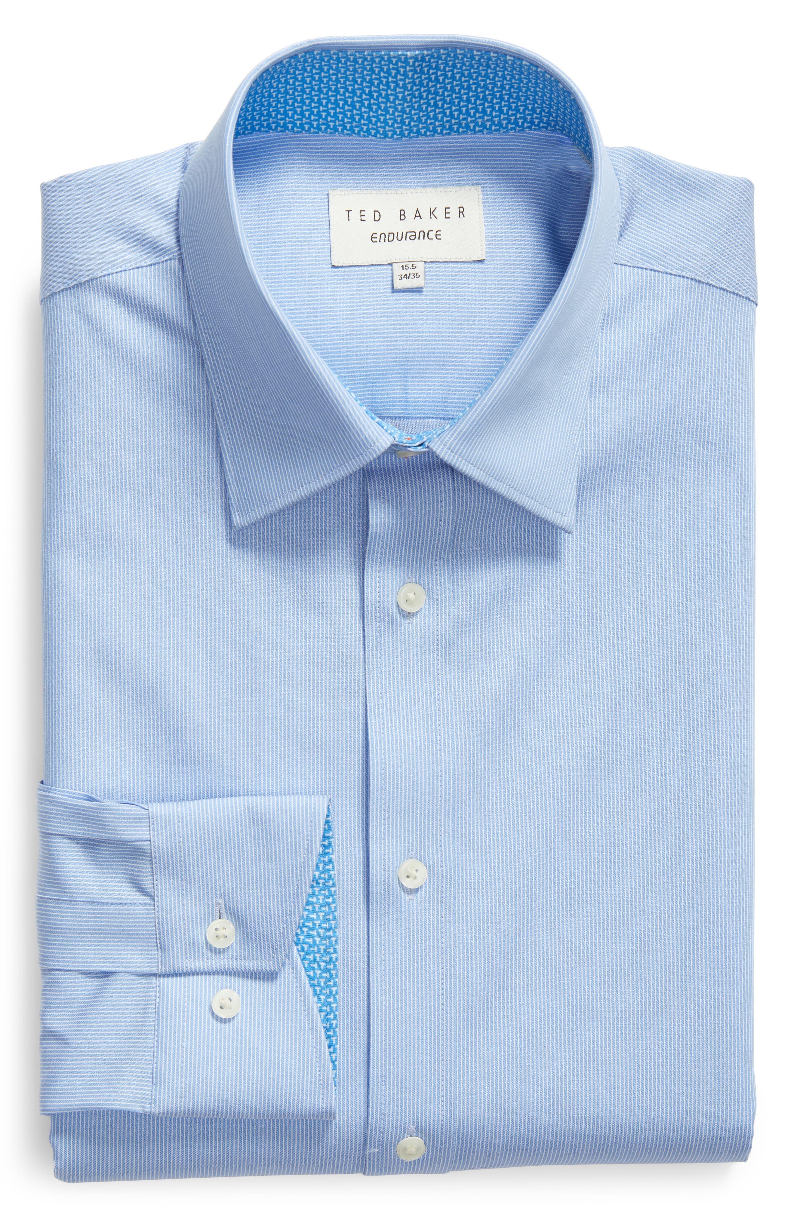 Nickoe Trim Fit Dress Shirt,                             Alternate thumbnail 5, color,                             BLUE