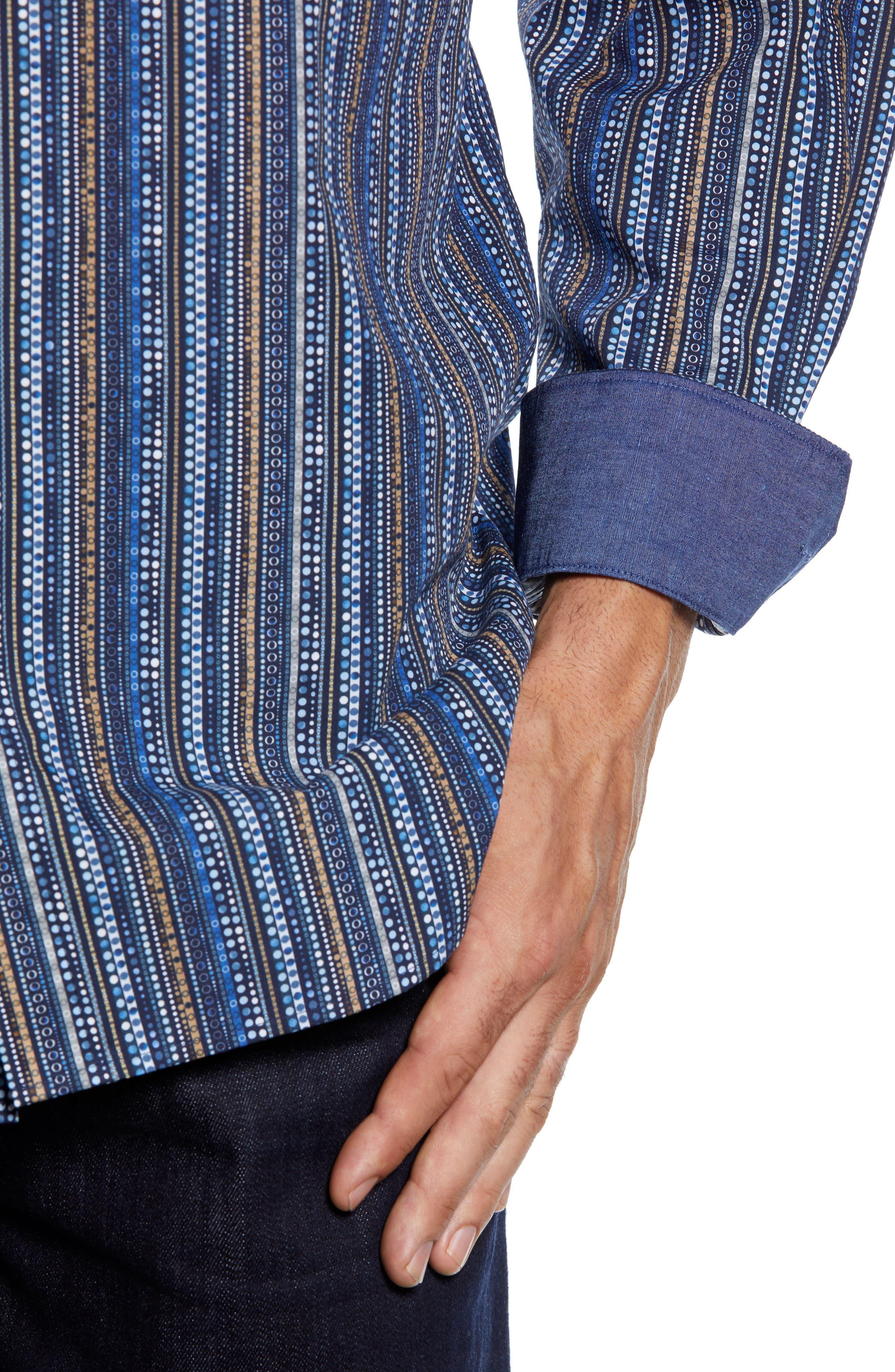 Classic Fit Print Stripe Sport Shirt,                             Alternate thumbnail 2, color,                             NAVY