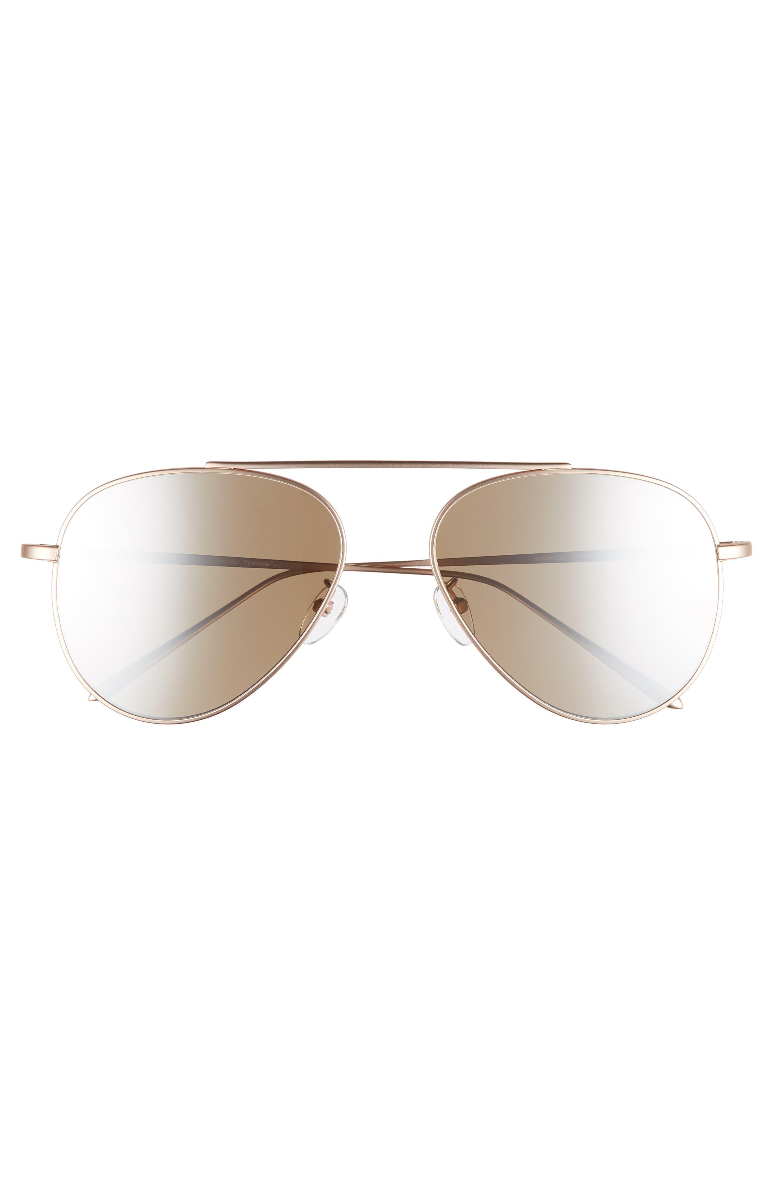 59mm Metal Aviator Sunglasses,                             Alternate thumbnail 3, color,                             ROSE GOLD/GOLD MIRROR