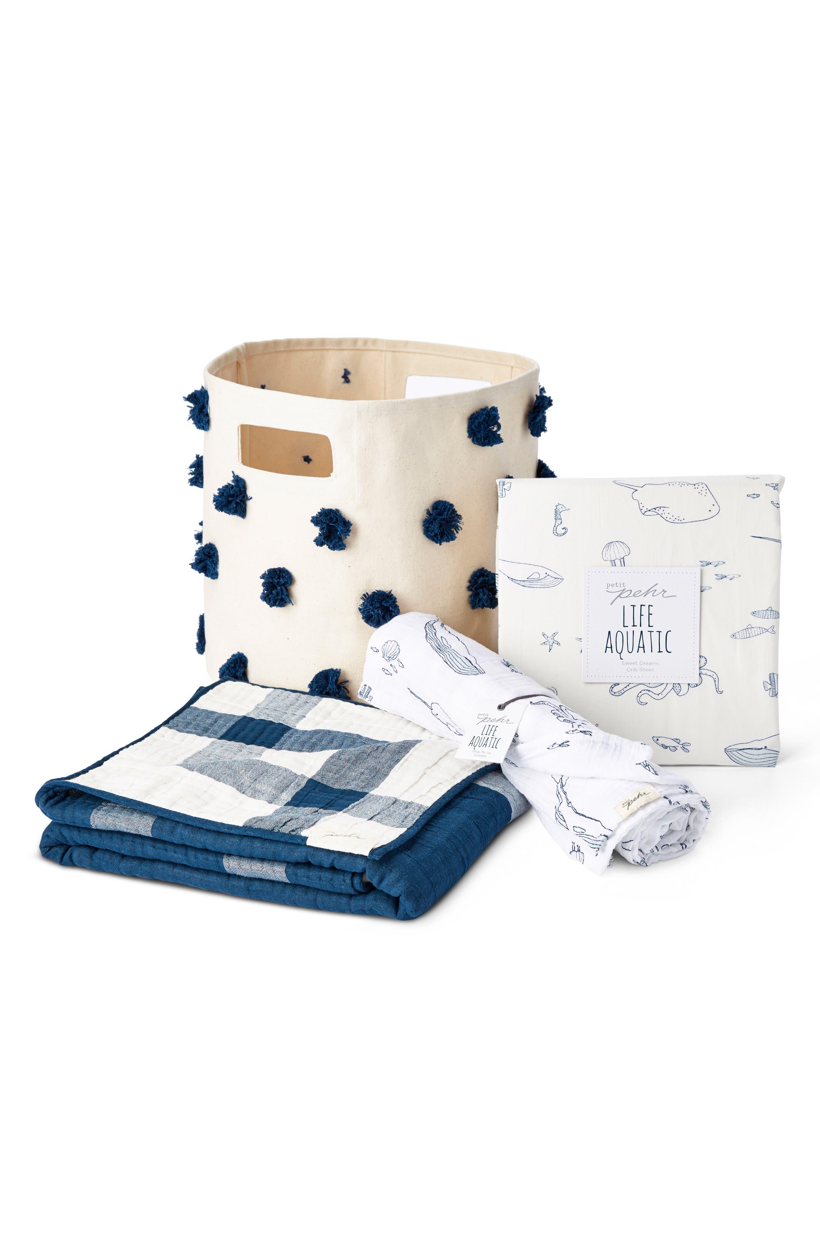 Life Aquatic 4-Piece Bed Linen & Storage Set,                             Main thumbnail 1, color,                             BLUE