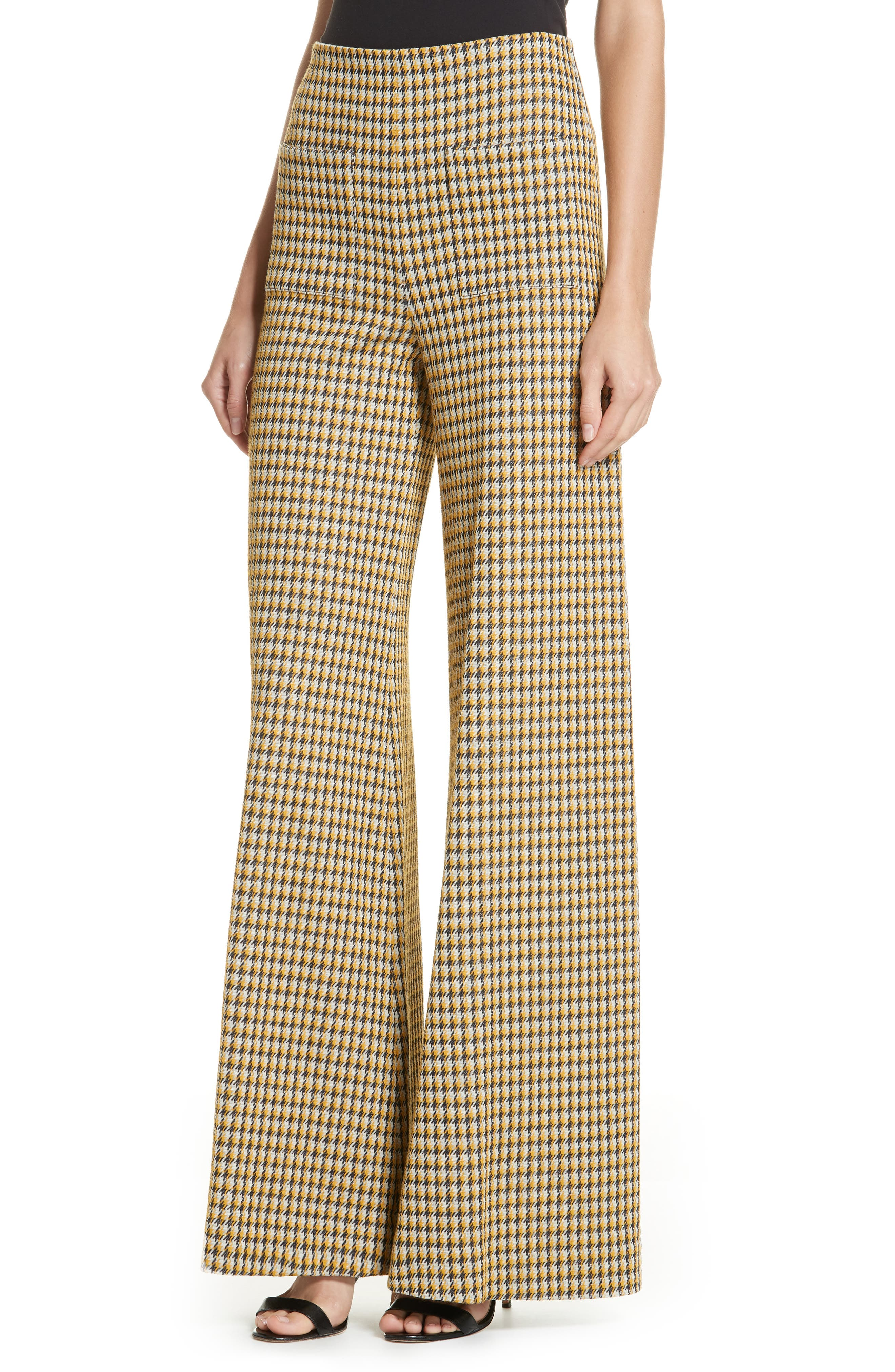 Luc Houndstooth Wide Leg Pants,                             Alternate thumbnail 4, color,                             YELLOW/ MIDNIGHT