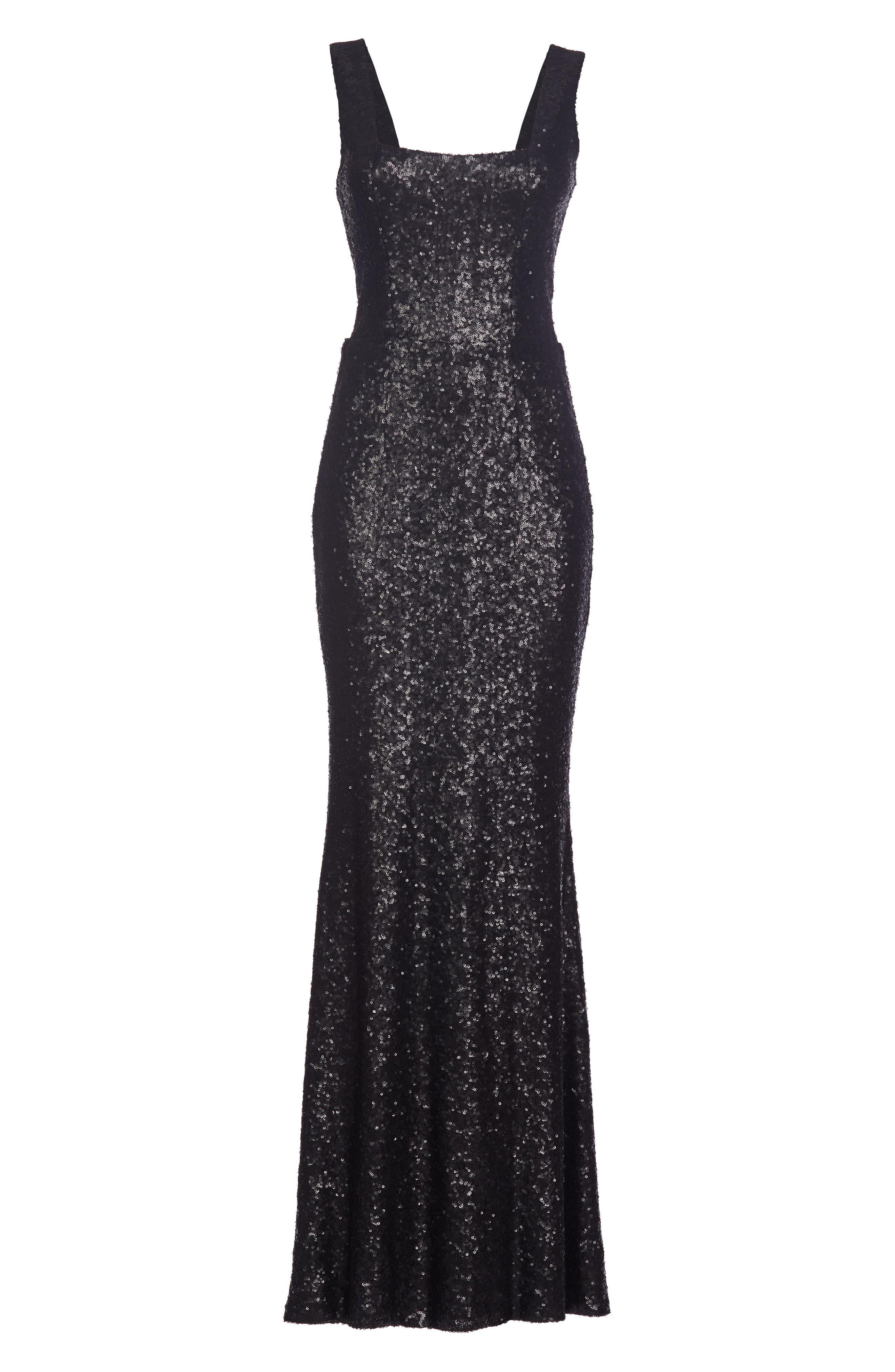 Raven Sequin Gown,                             Alternate thumbnail 4, color,                             018