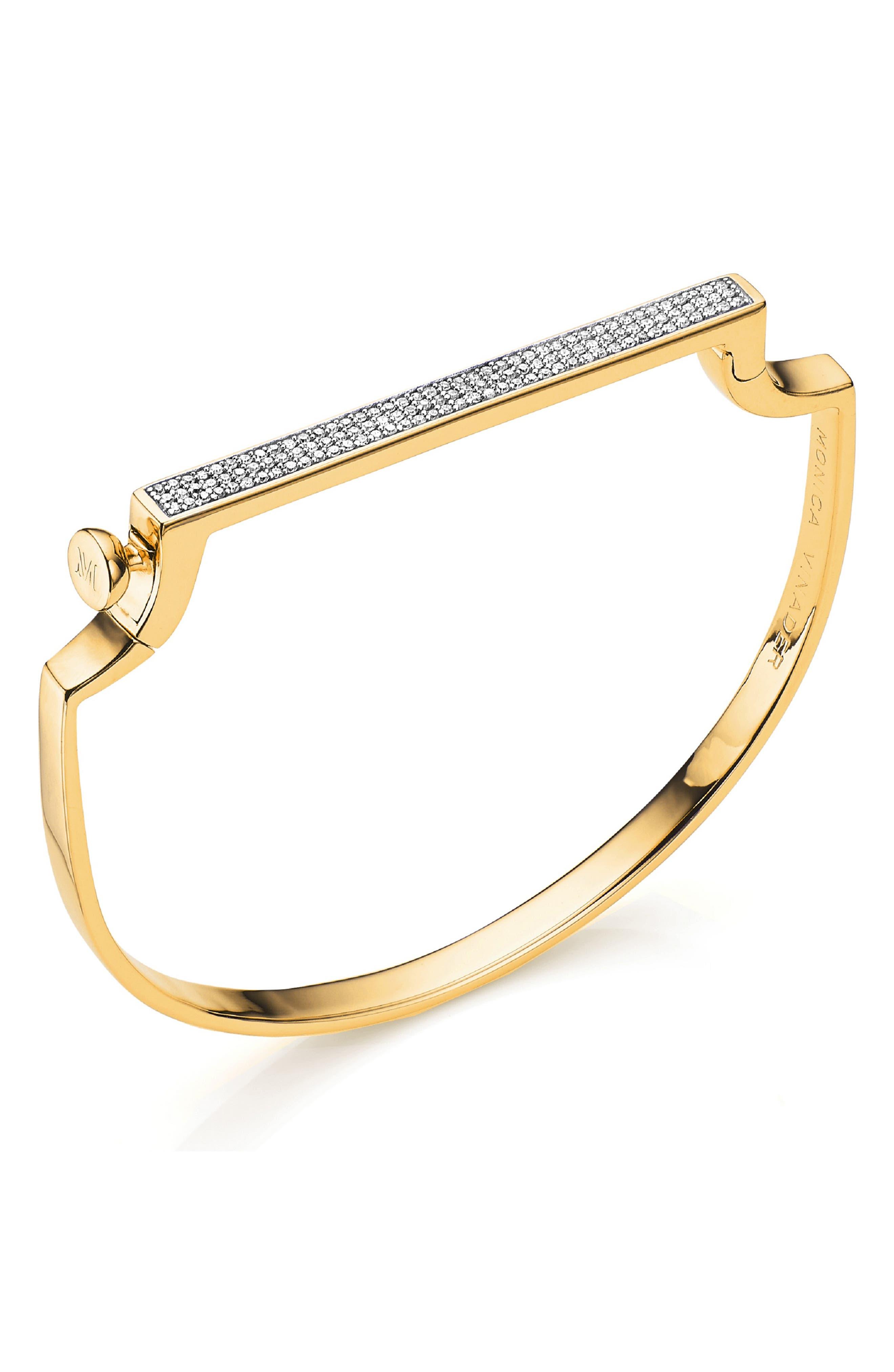 Signature Thin Diamond Bangle,                             Main thumbnail 1, color,                             YELLOW GOLD/ DIAMOND
