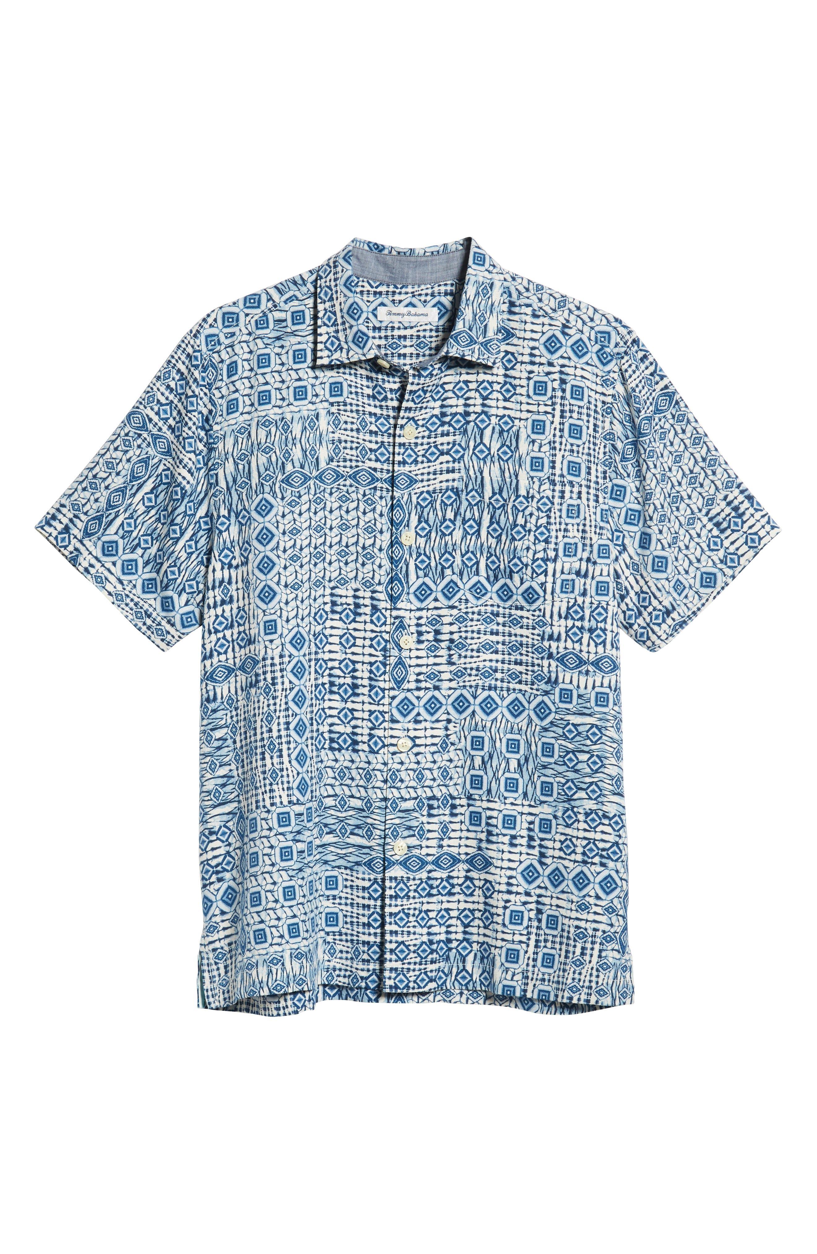 Tile Traveler Regular Fit Silk Camp Shirt,                             Alternate thumbnail 5, color,                             BLUE JEAN
