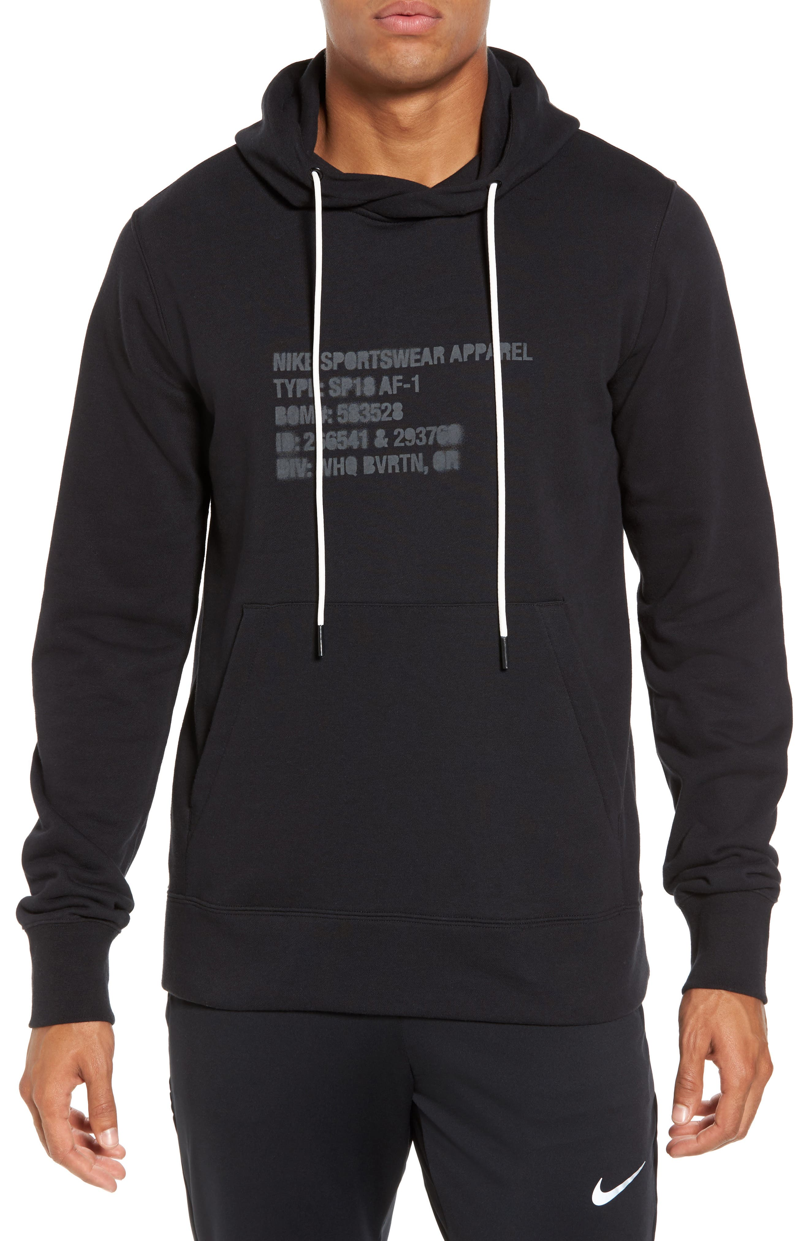 NSW AF1 Hoodie,                             Main thumbnail 1, color,                             BLACK/ ANTHRACITE