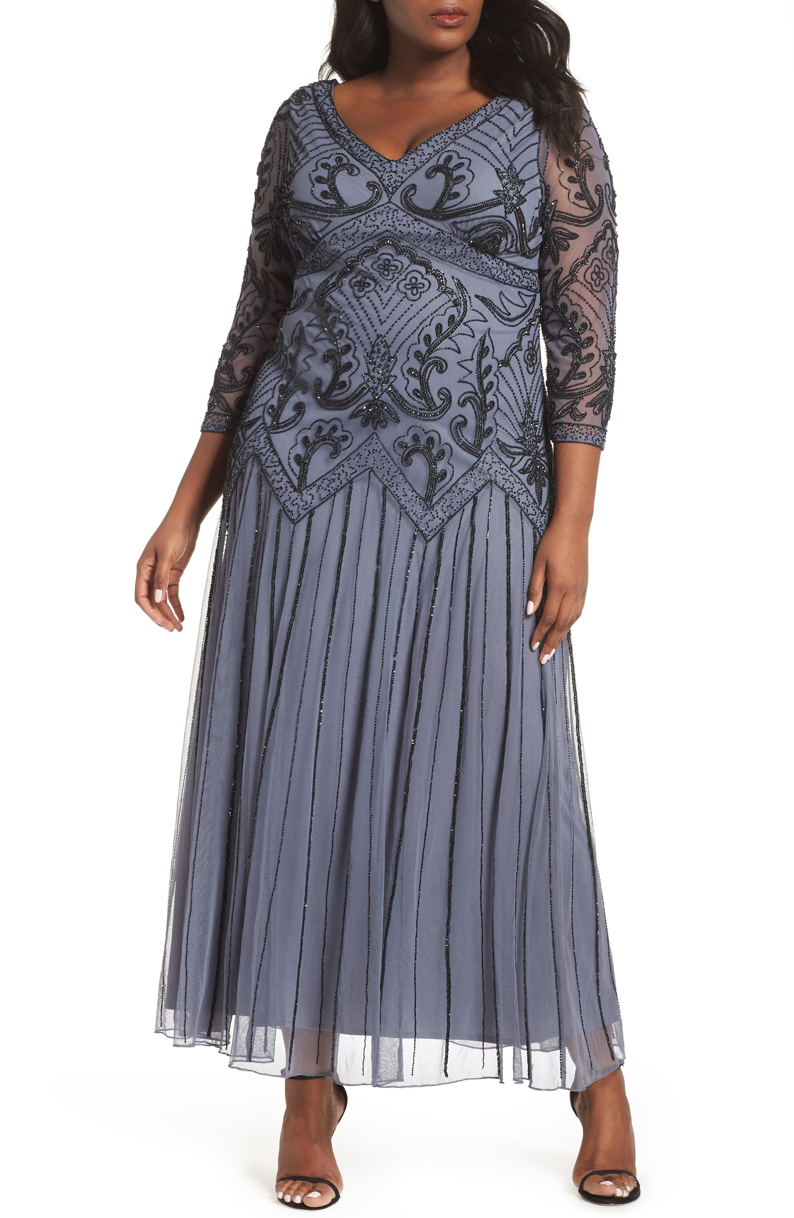 Embellished Double V-Neck Long Dress,                             Main thumbnail 1, color,                             GREY/ SILVER