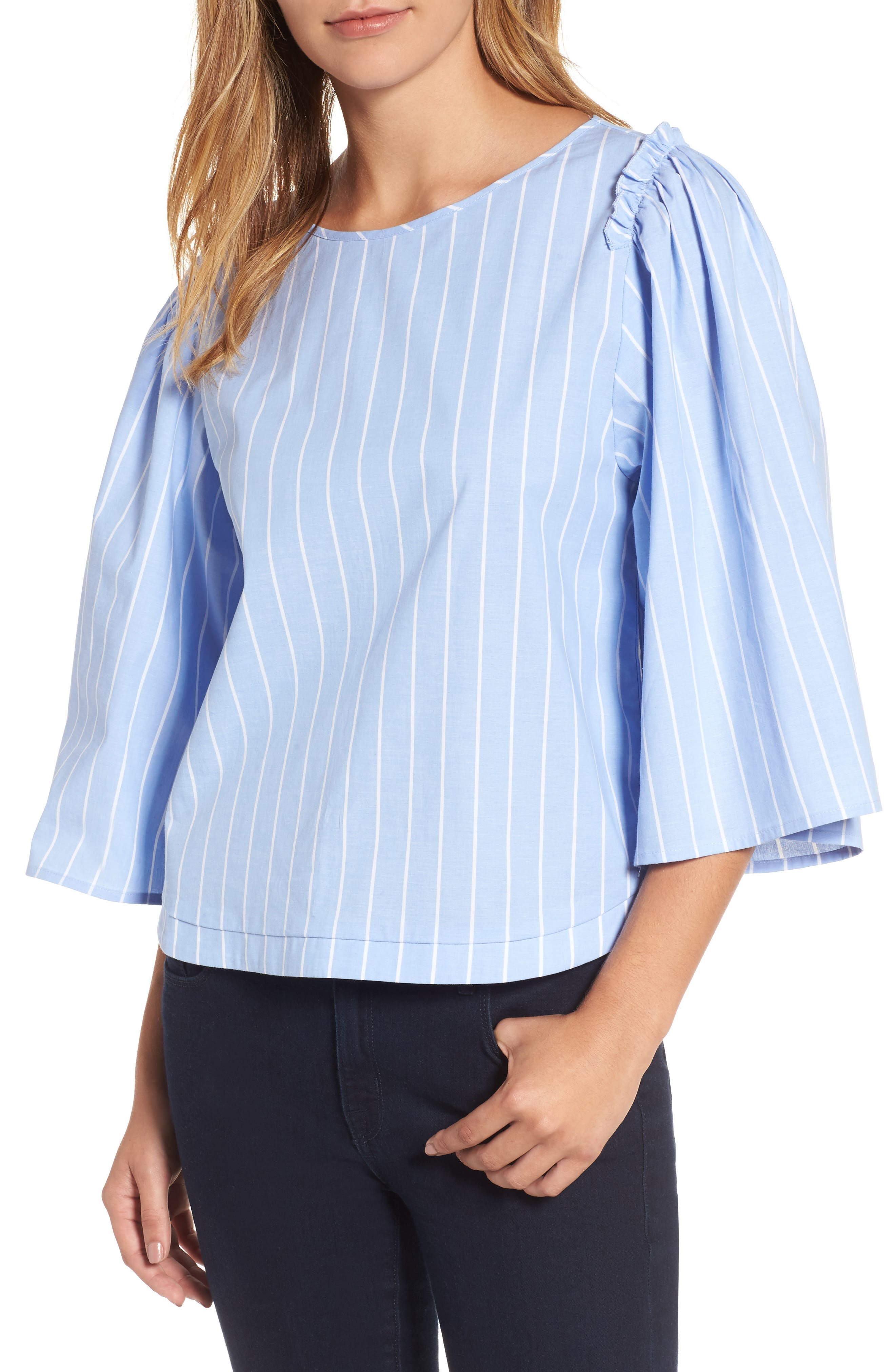 Bell Sleeve Stripe Blouse,                         Main,                         color, 400