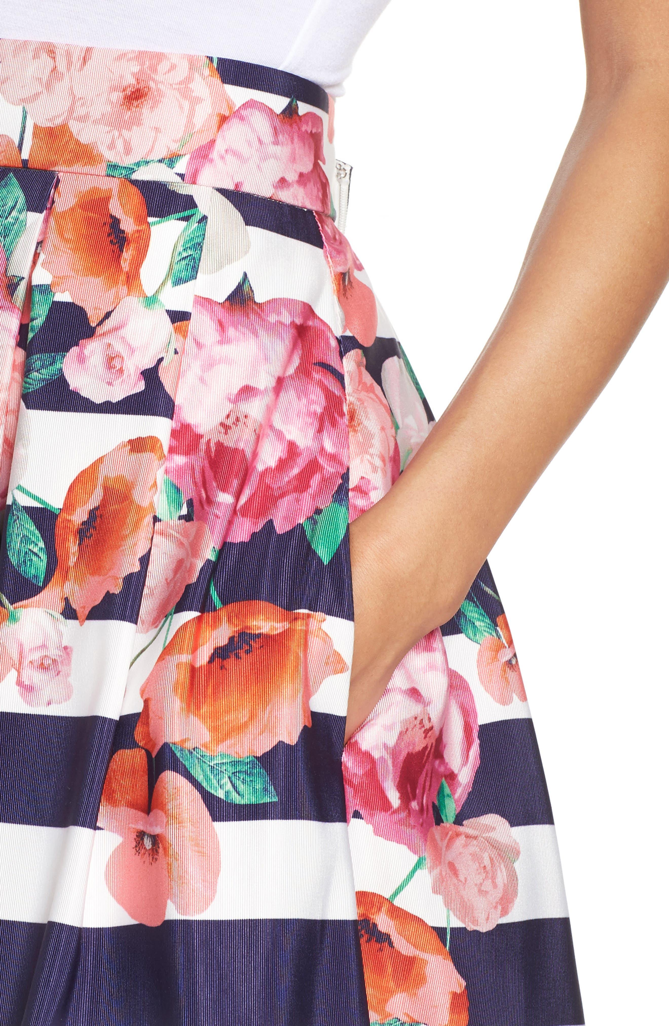 Floral Stripe Midi Skirt,                             Alternate thumbnail 4, color,                             650
