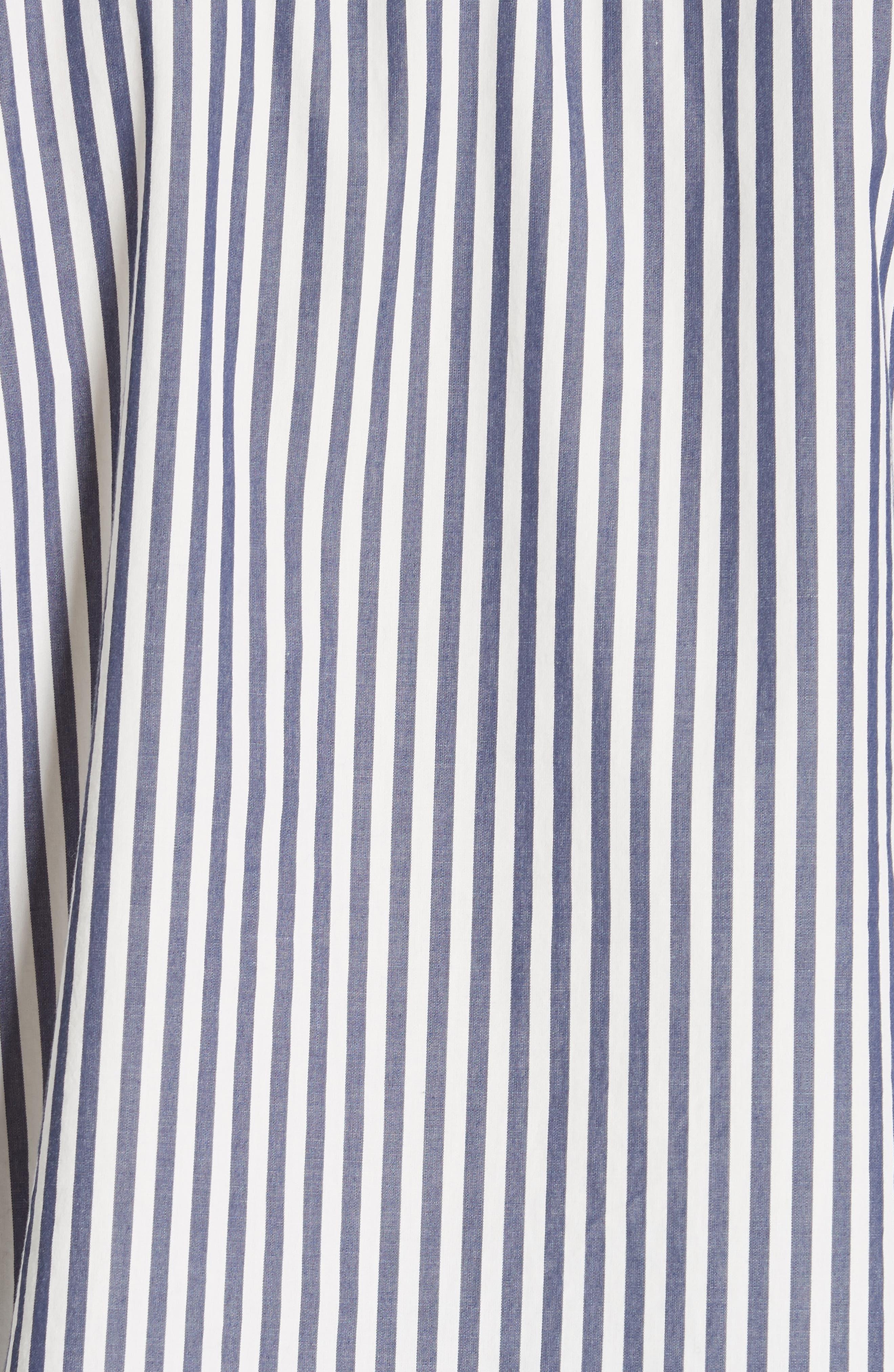 Railroad Stripe Boyfriend Shirt,                             Alternate thumbnail 5, color,                             NAVY/ WHITE