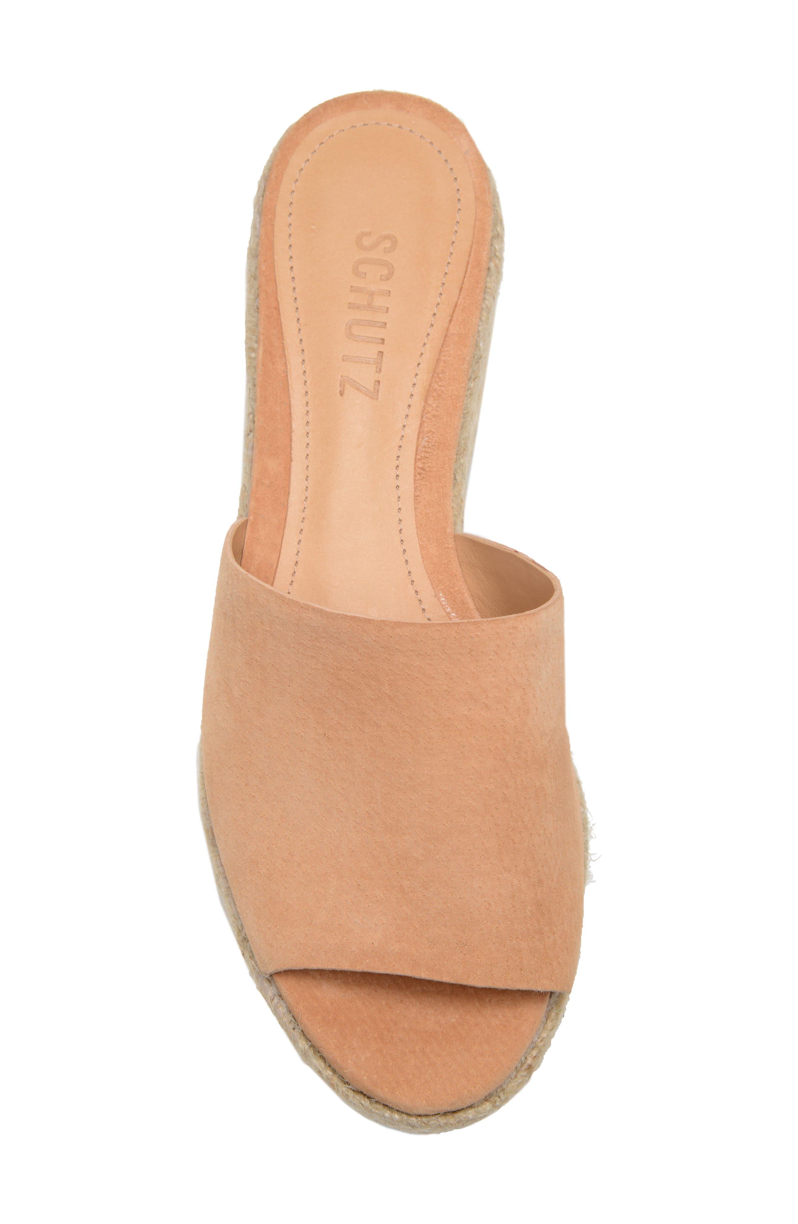 Thalia Platform Wedge Slide Sandal,                             Alternate thumbnail 5, color,                             HONEY BEIGE