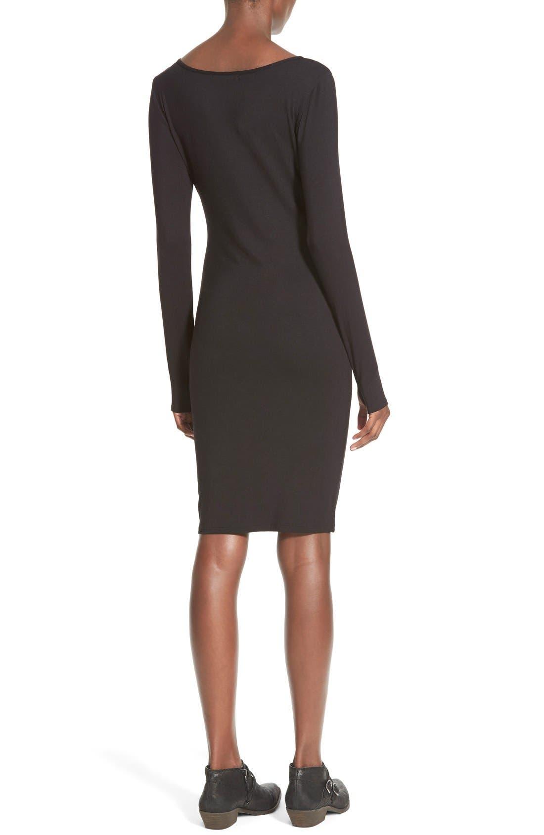 Stripe Long Sleeve Body-Con Dress,                             Alternate thumbnail 5, color,                             001