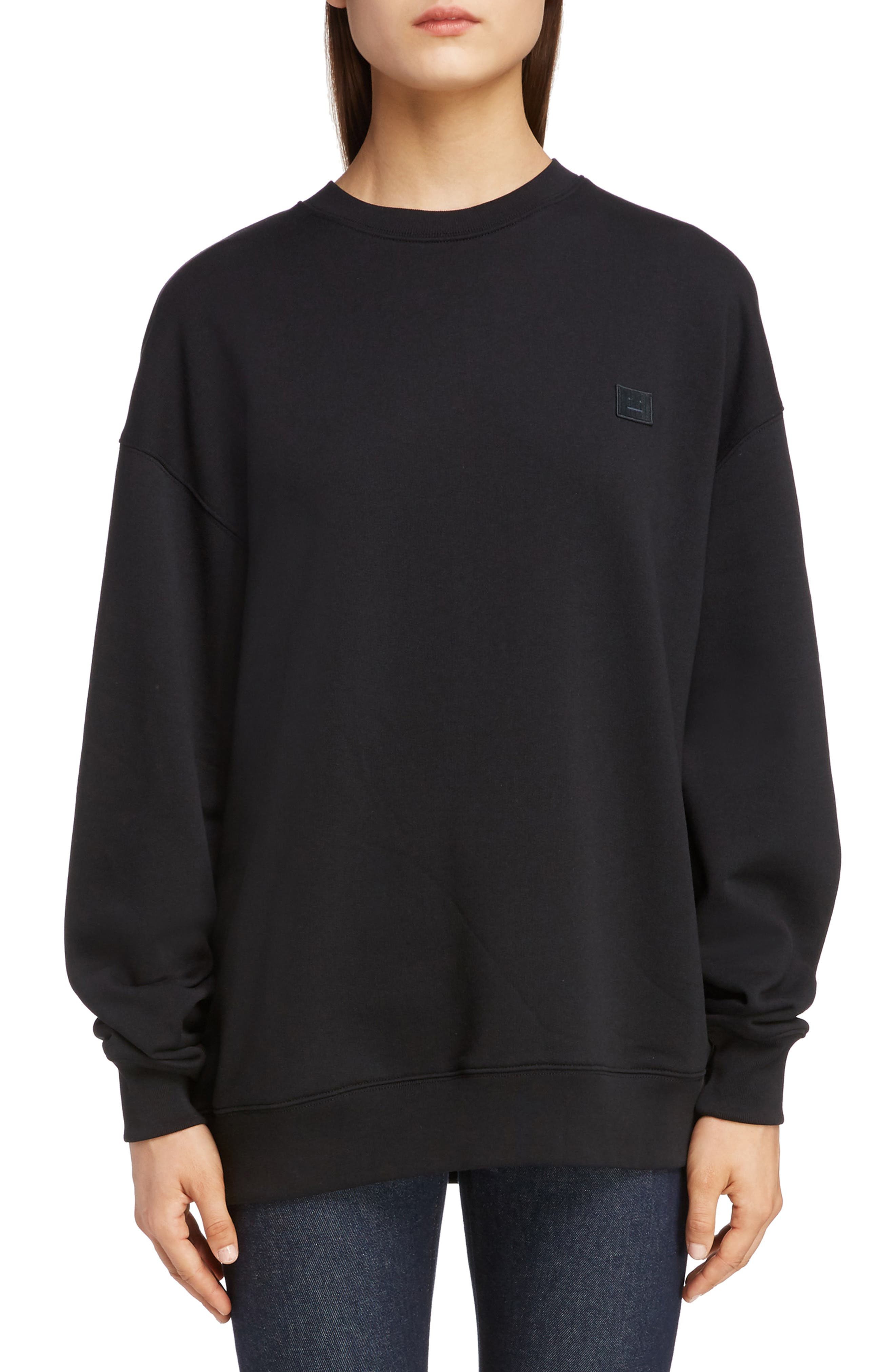 ACNE STUDIOS Forba Face Sweatshirt, Main, color, BLACK