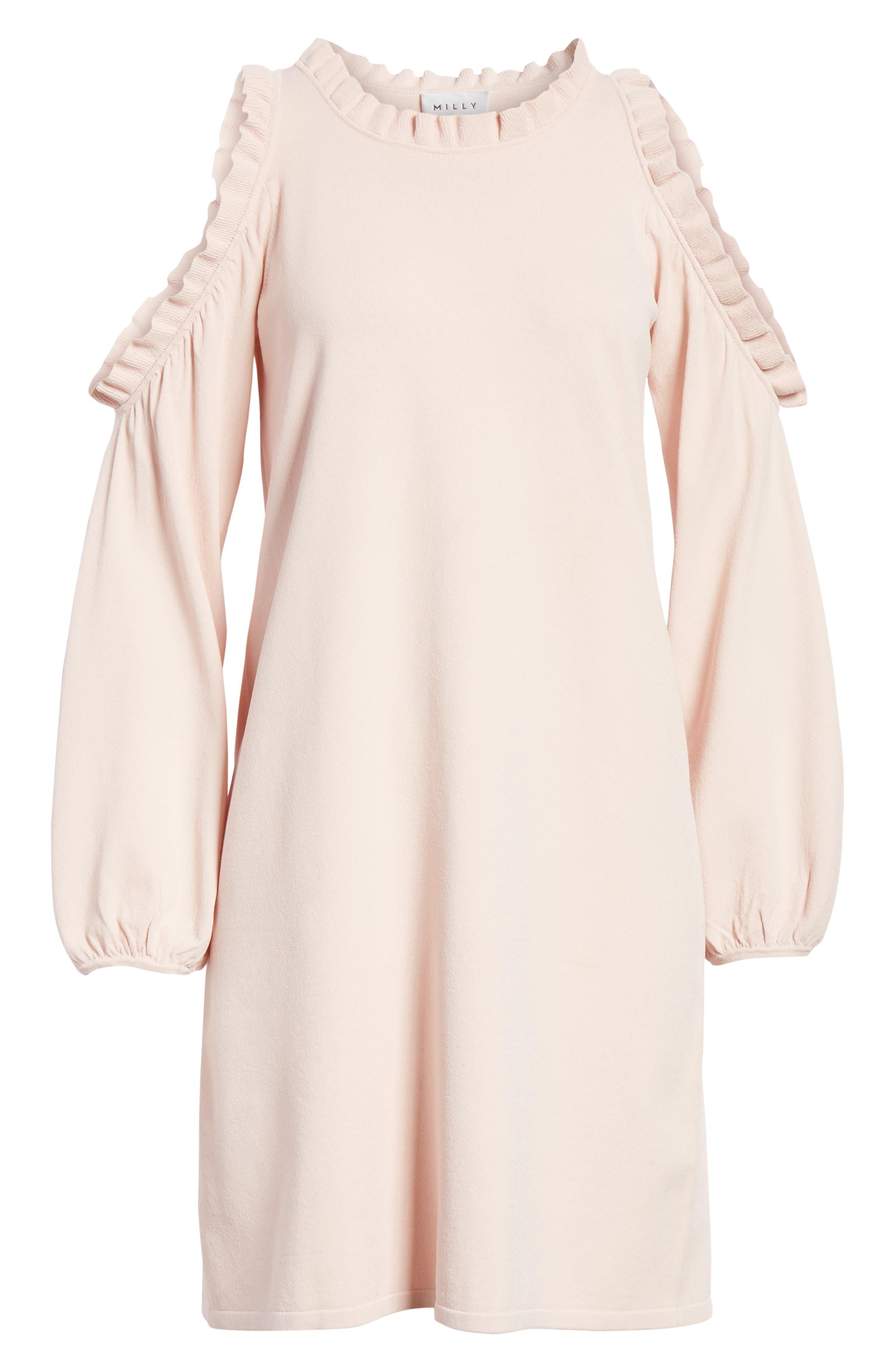 Ruffle Trim Cold Shoulder Minidress,                             Alternate thumbnail 6, color,                             653