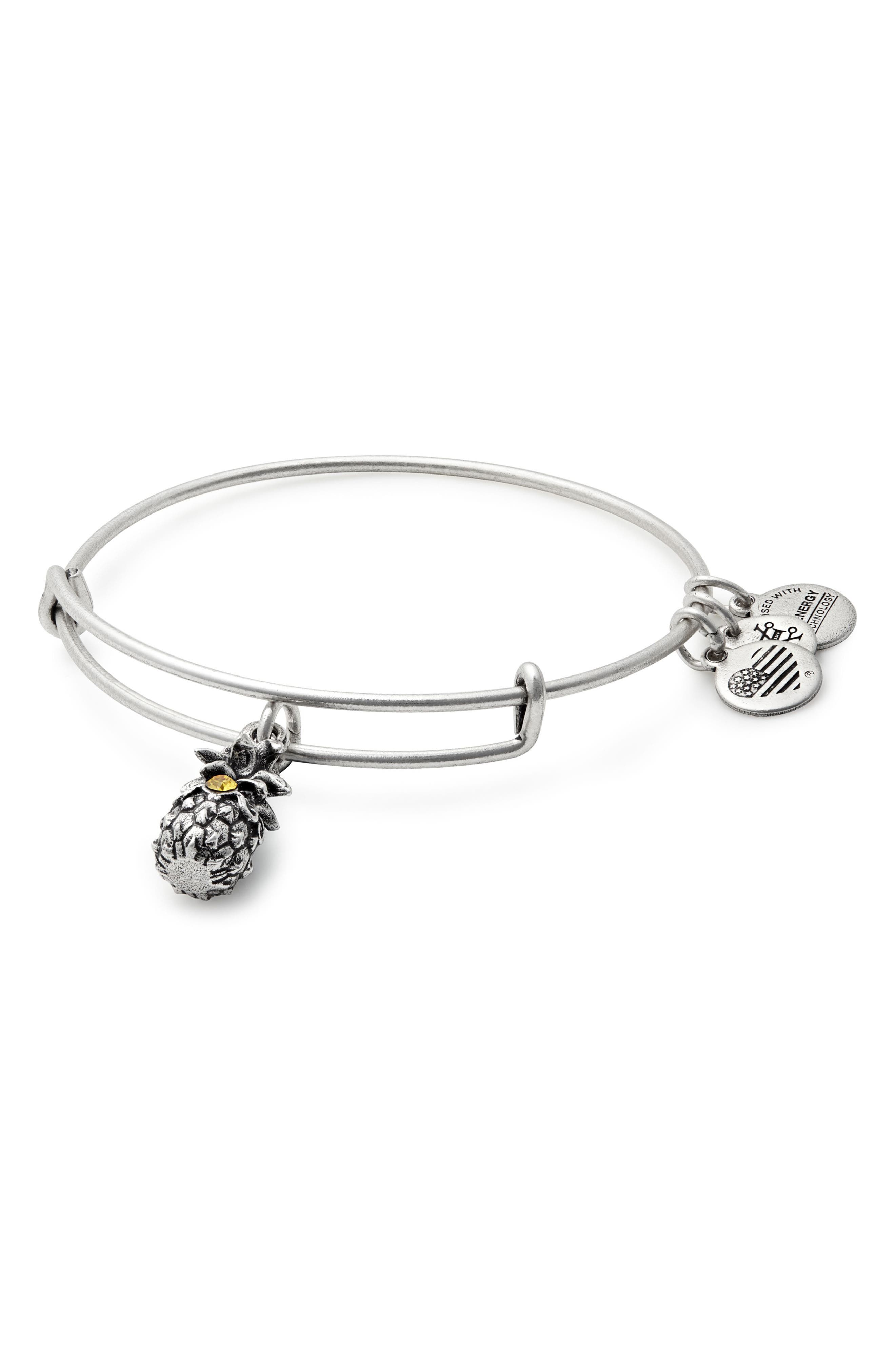 Pineapple Adjustable Wire Bangle,                             Main thumbnail 1, color,                             RUSSIAN SILVER