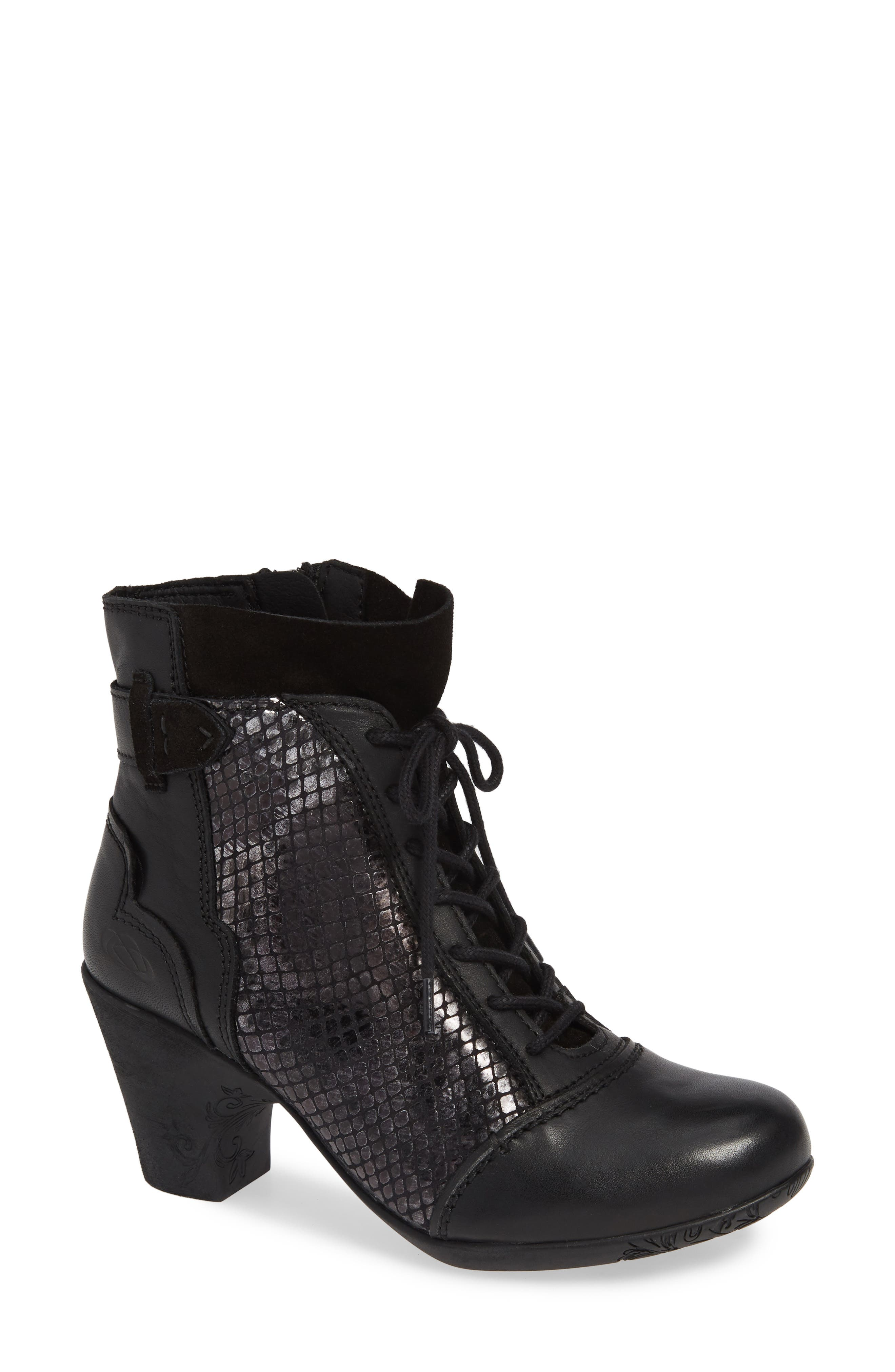 'Jesse' Lace-Up Bootie,                             Main thumbnail 1, color,                             BLACK TAIPAN LEATHER