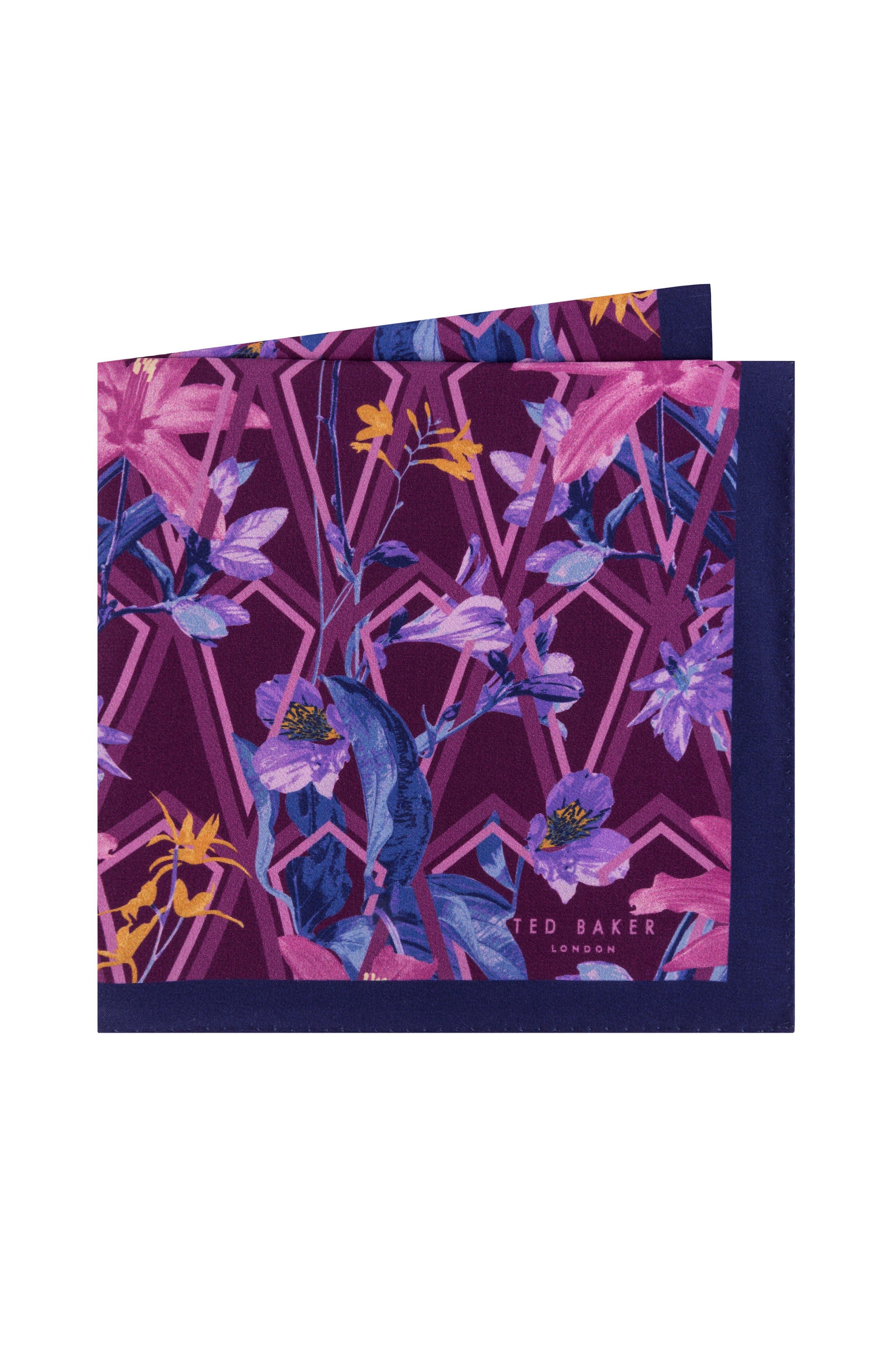 Floral Silk Pocket Square,                         Main,                         color, PINK